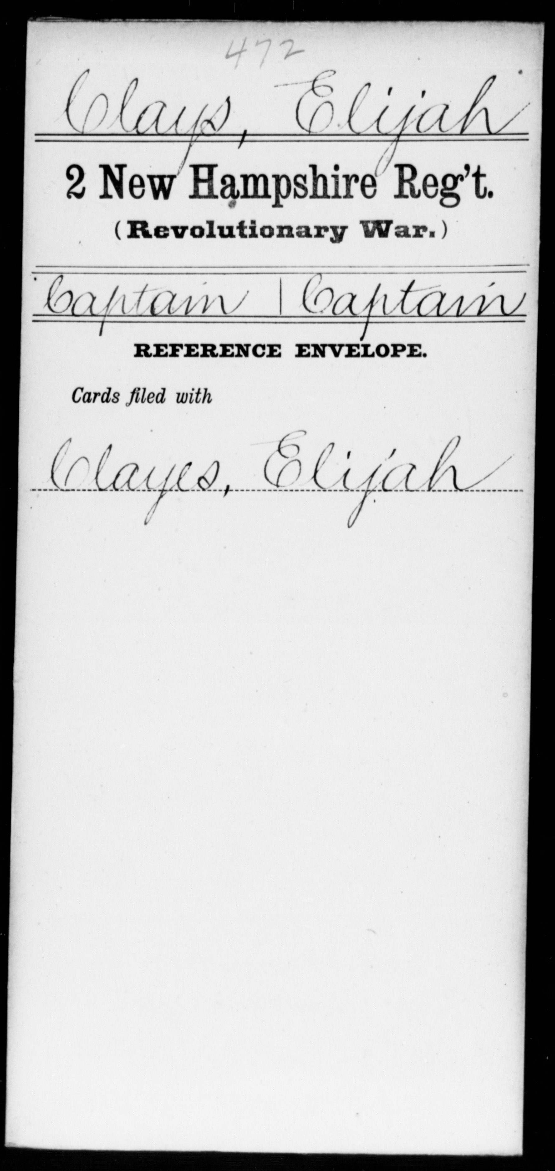Clays, Elijah - New Hampshire - Second Regiment