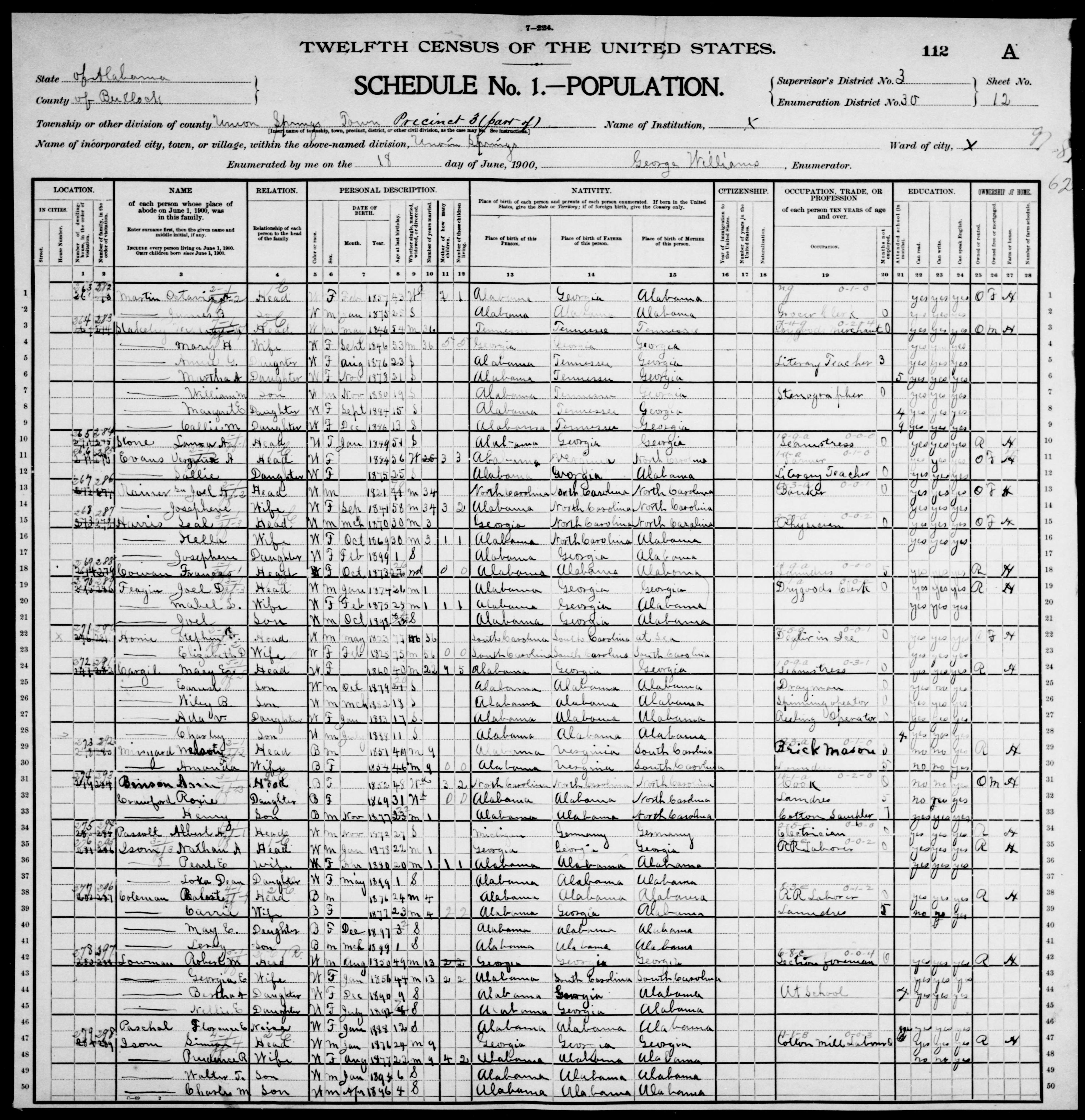 a3842dc0e073 Alabama: BULLOCK County, Enumeration District 30, Sheet No. 12A