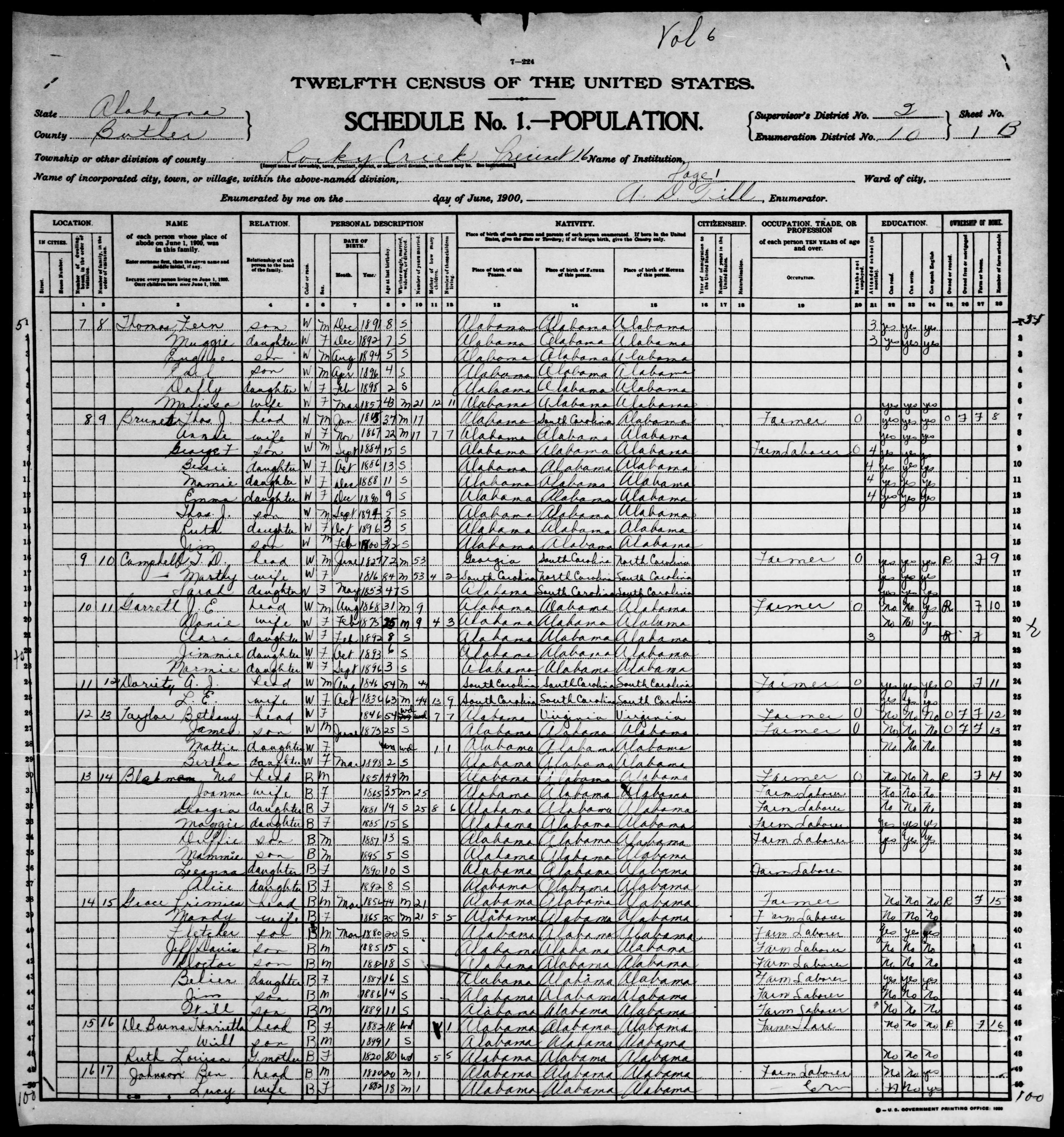 Alabama: BUTLER County, Enumeration District 10, Sheet No. 1B