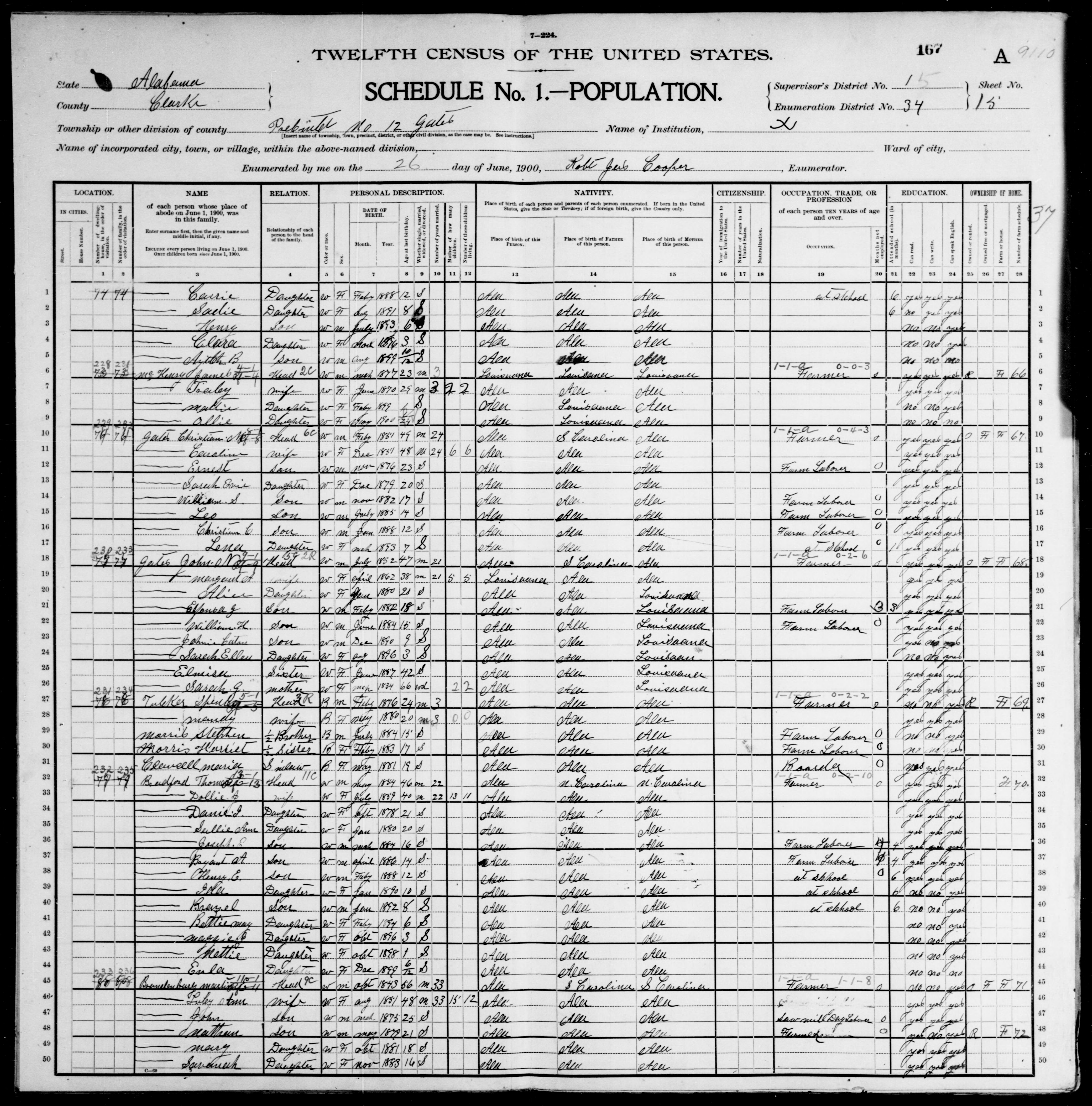 Alabama: CLARKE County, Enumeration District 34, Sheet No. 15A