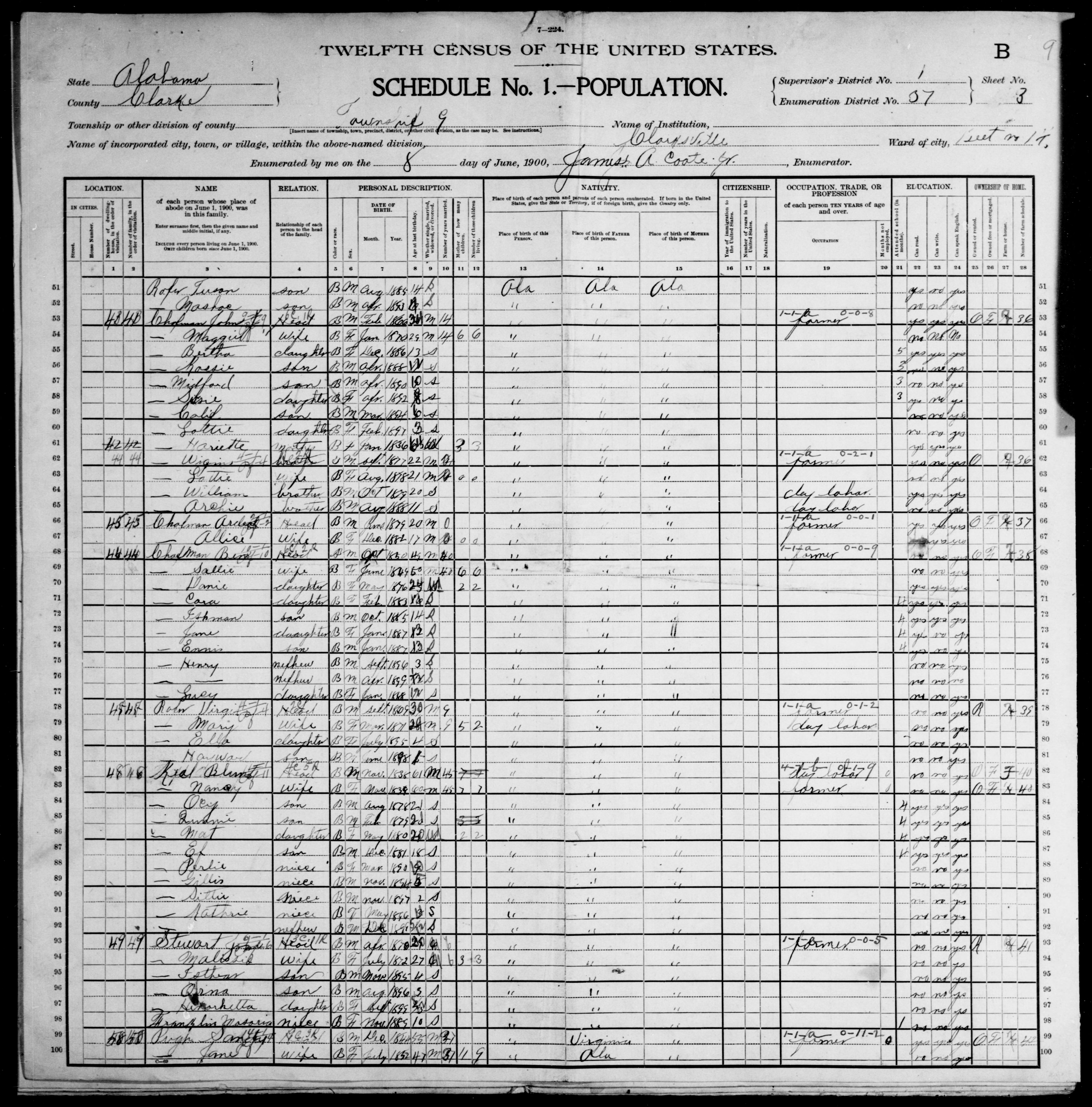 Alabama: CLARKE County, Enumeration District 37, Sheet No. 3B