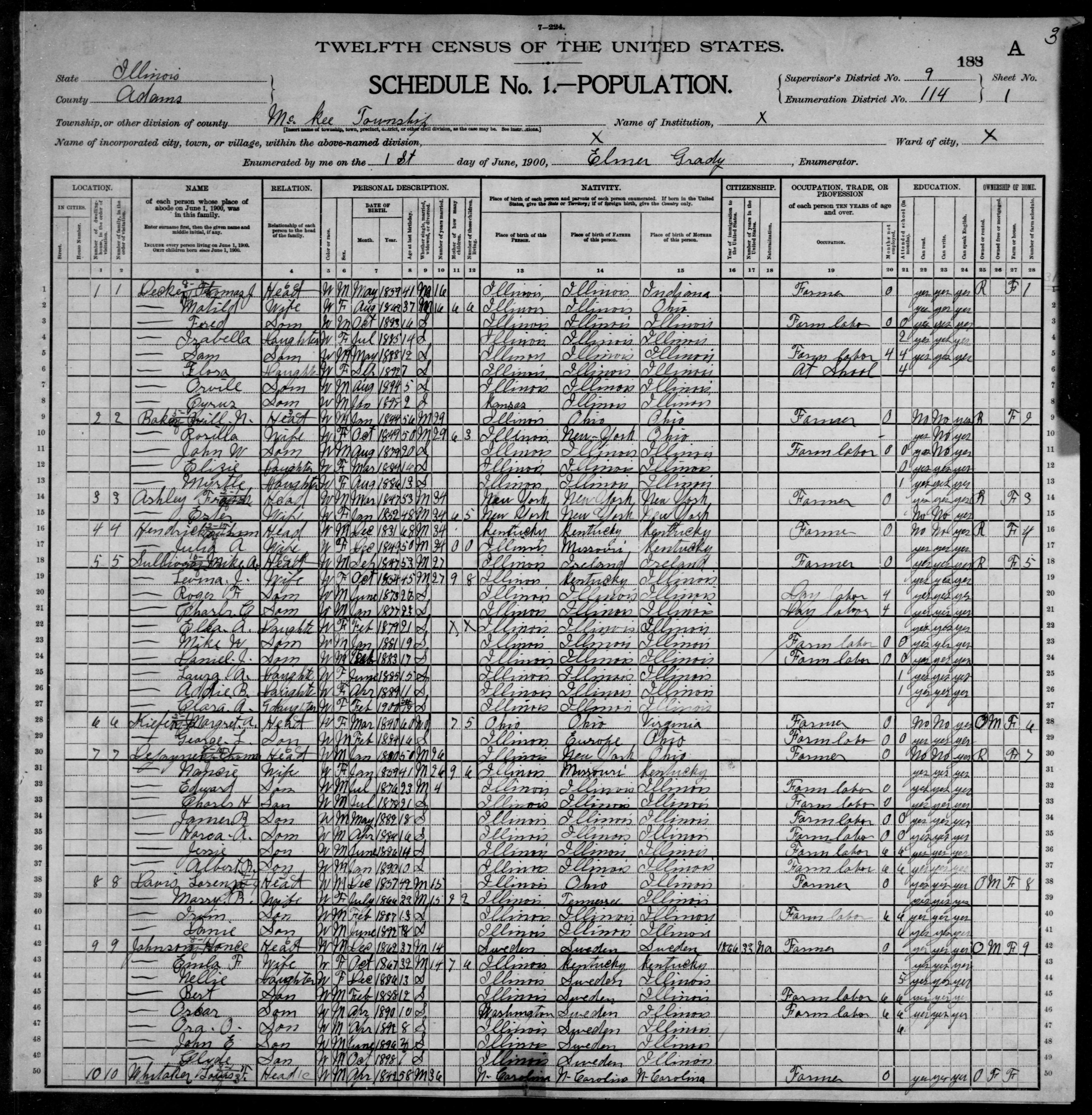 Illinois: ADAMS County, Enumeration District 114, Sheet No. 1A