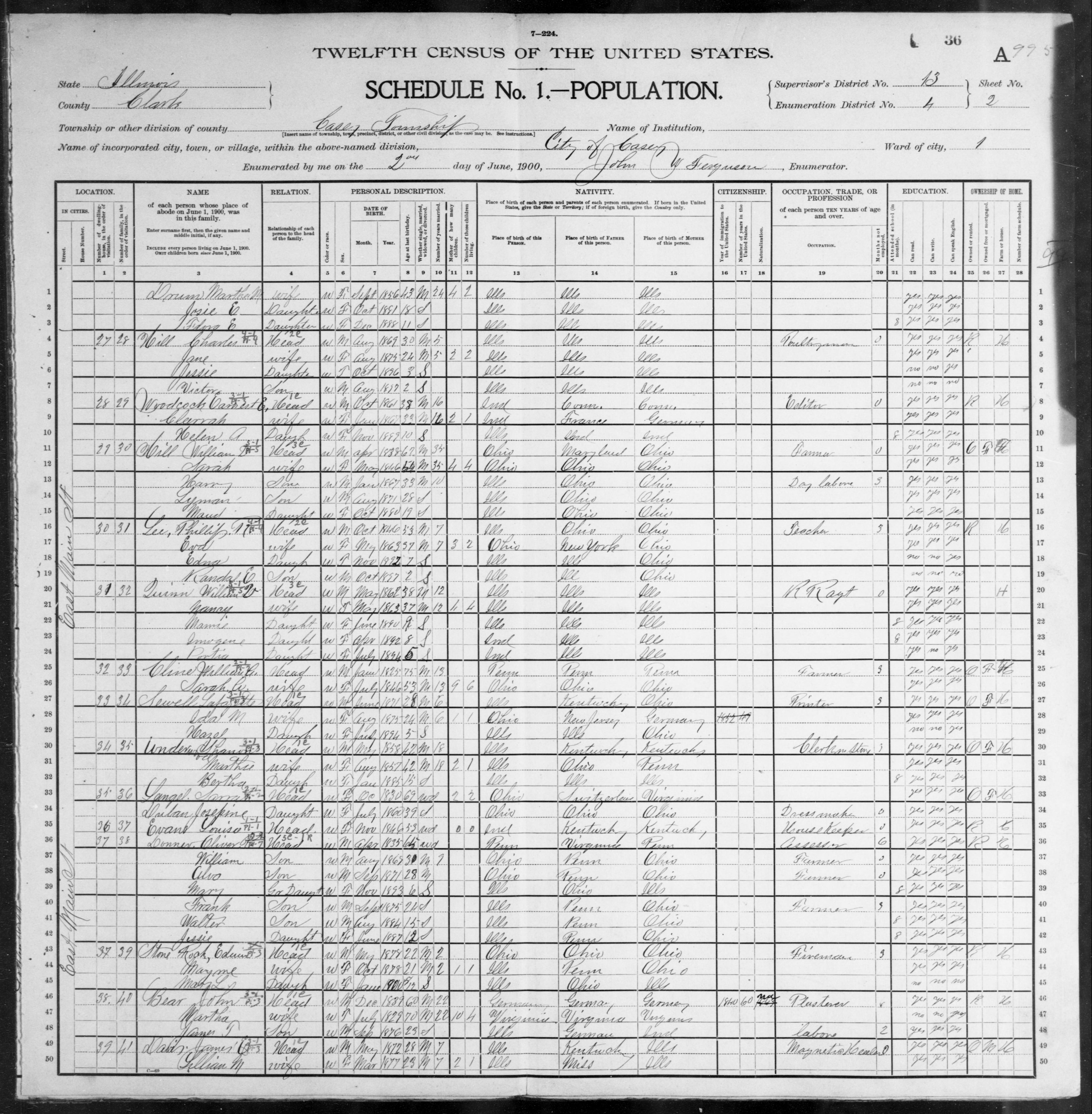 Illinois: CLARK County, Enumeration District 4, Sheet No. 2A