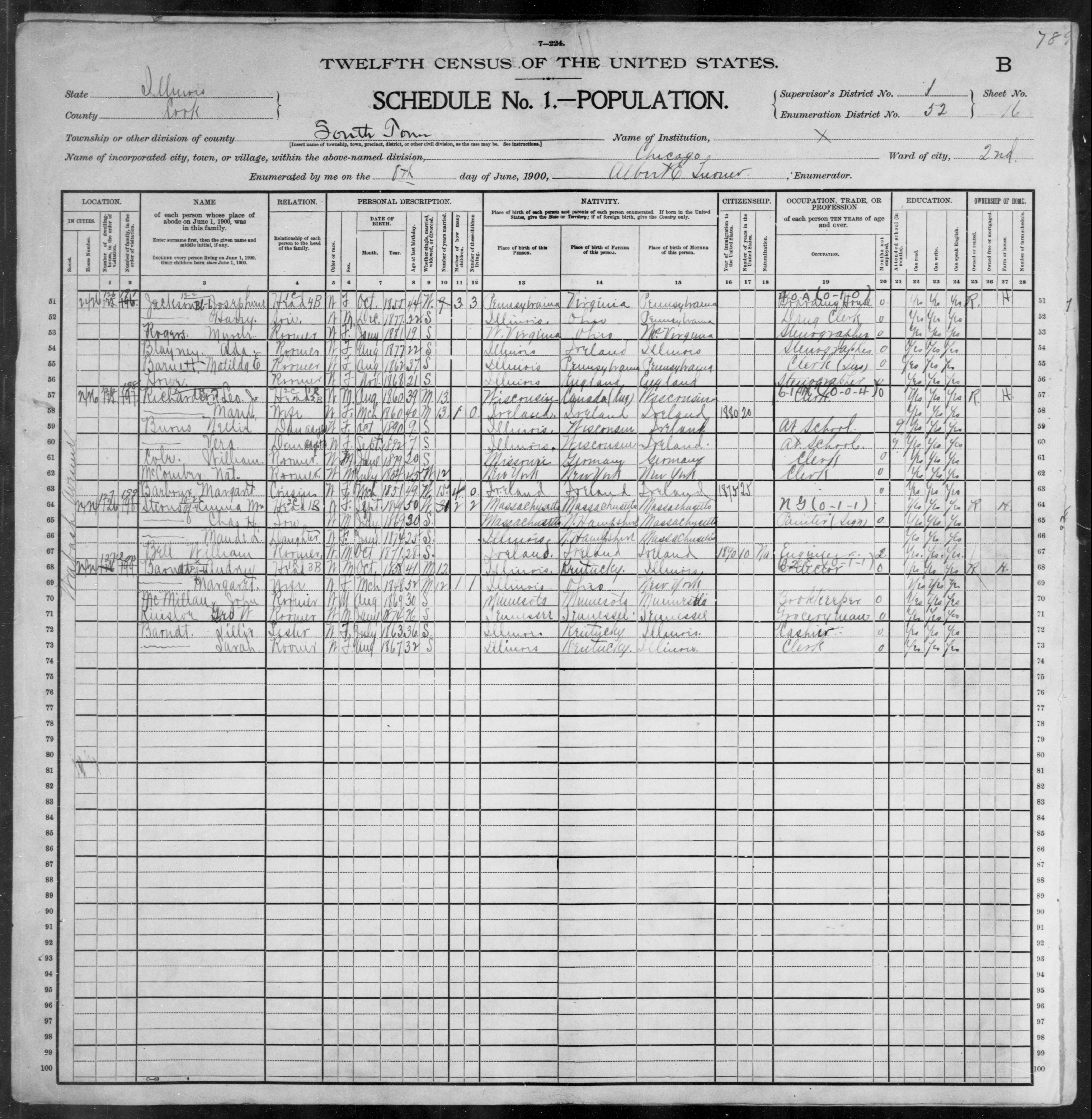 Illinois: COOK County, Enumeration District 52, Sheet No. 16B