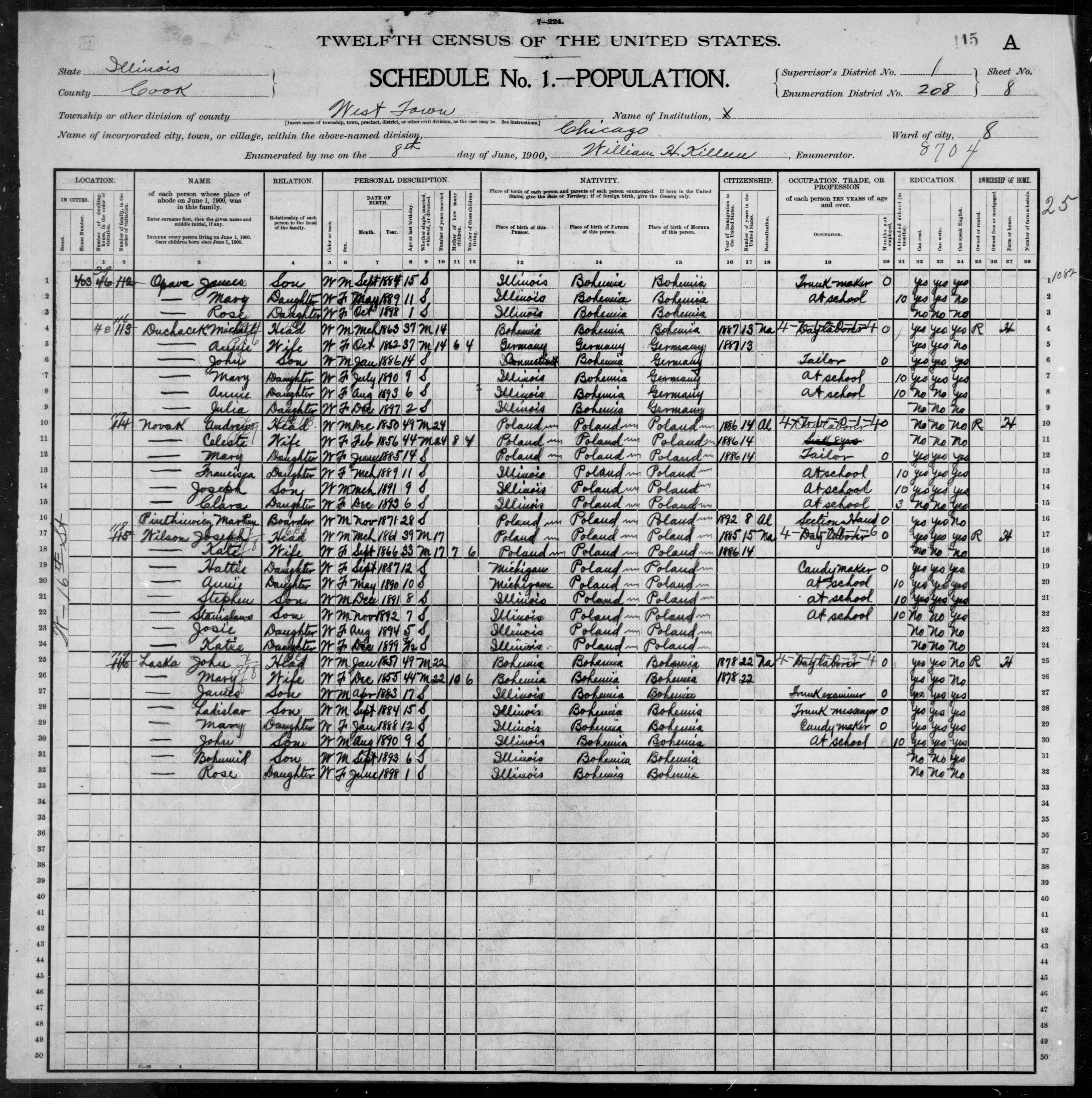 Illinois: COOK County, Enumeration District 208, Sheet No. 8A