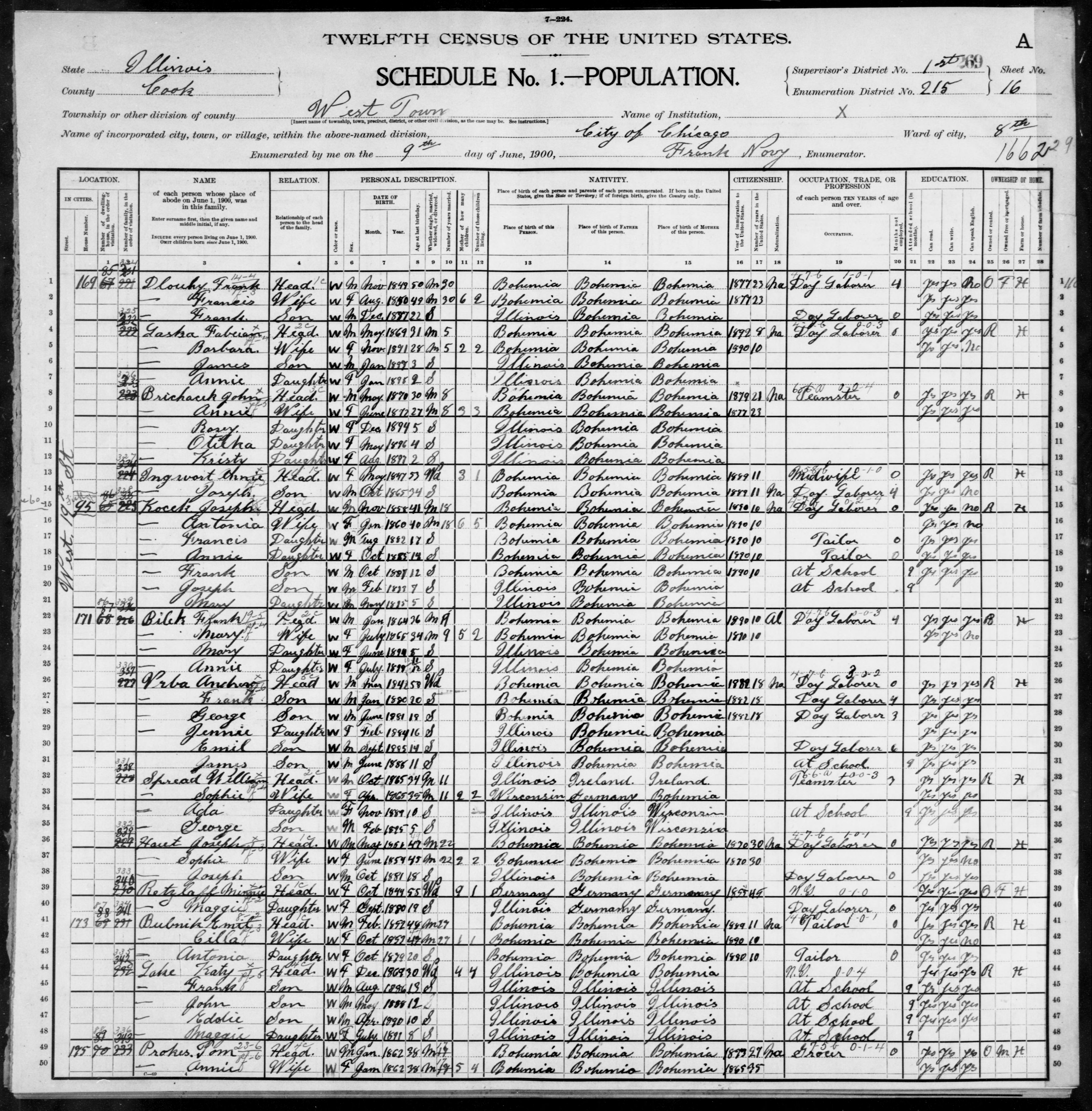 Illinois: COOK County, Enumeration District 215, Sheet No. 16A