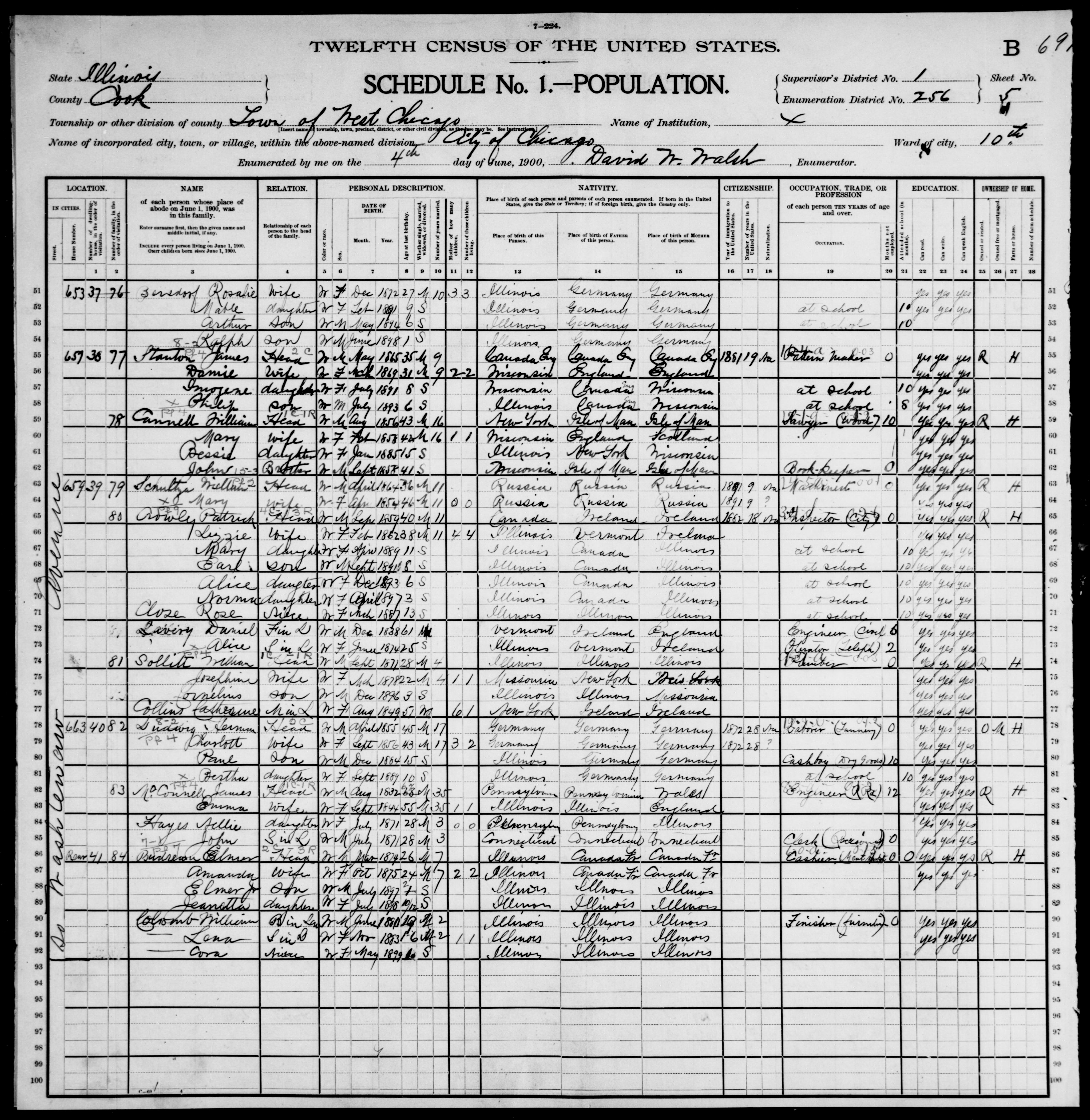 Illinois: COOK County, Enumeration District 256, Sheet No. 5B