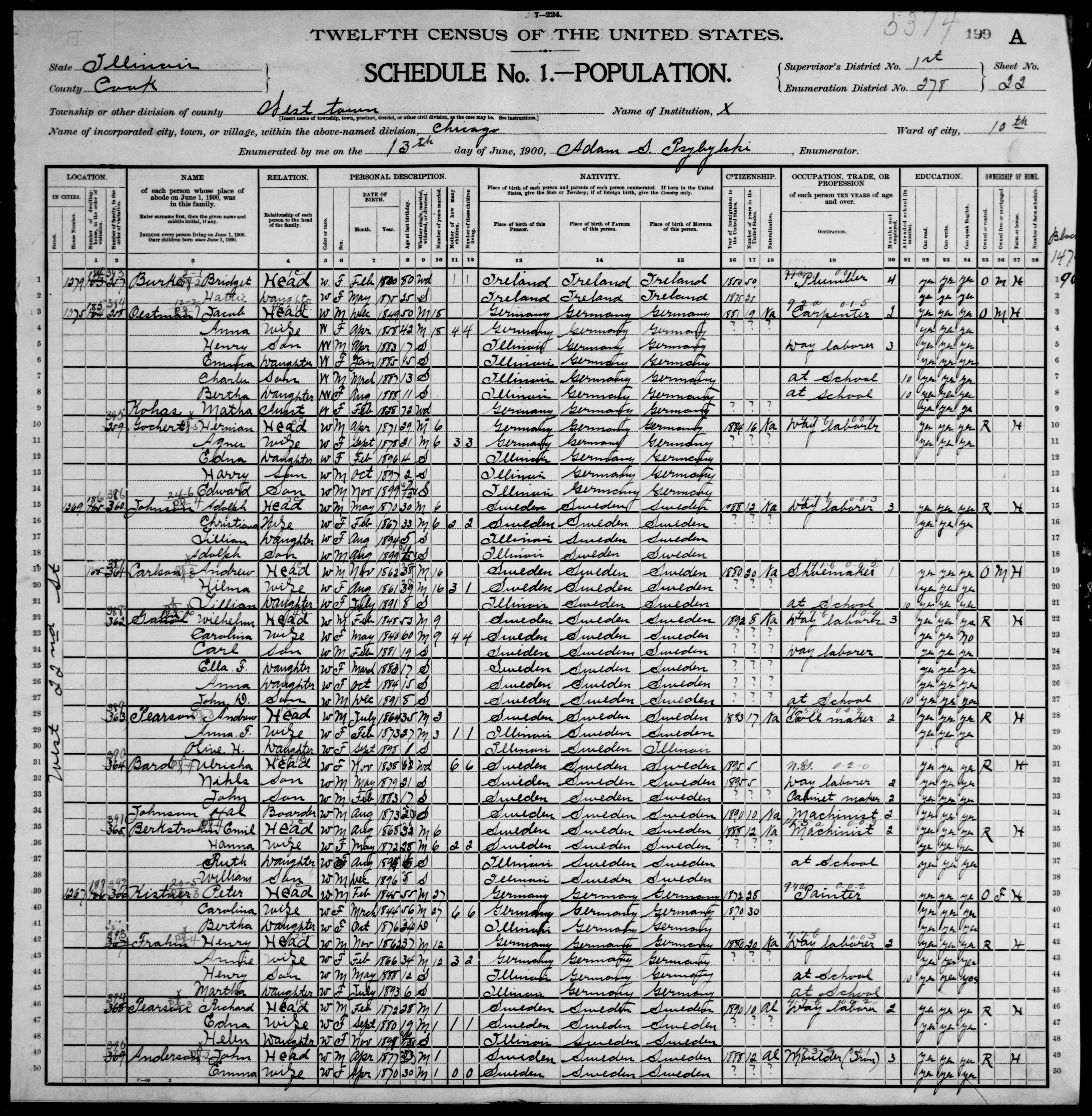 Illinois: COOK County, Enumeration District 278, Sheet No. 22A