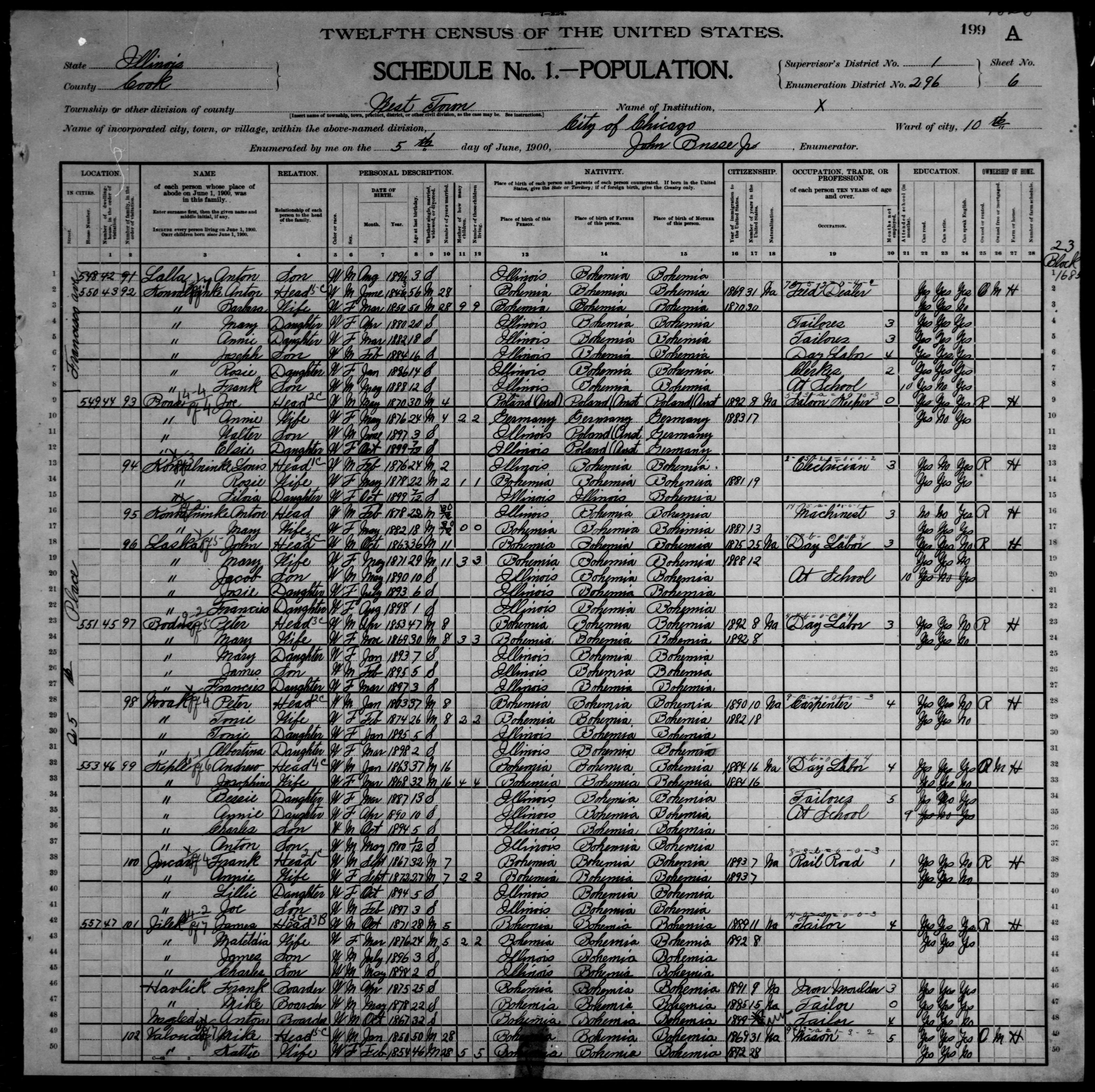 Illinois: COOK County, Enumeration District 296, Sheet No. 6A