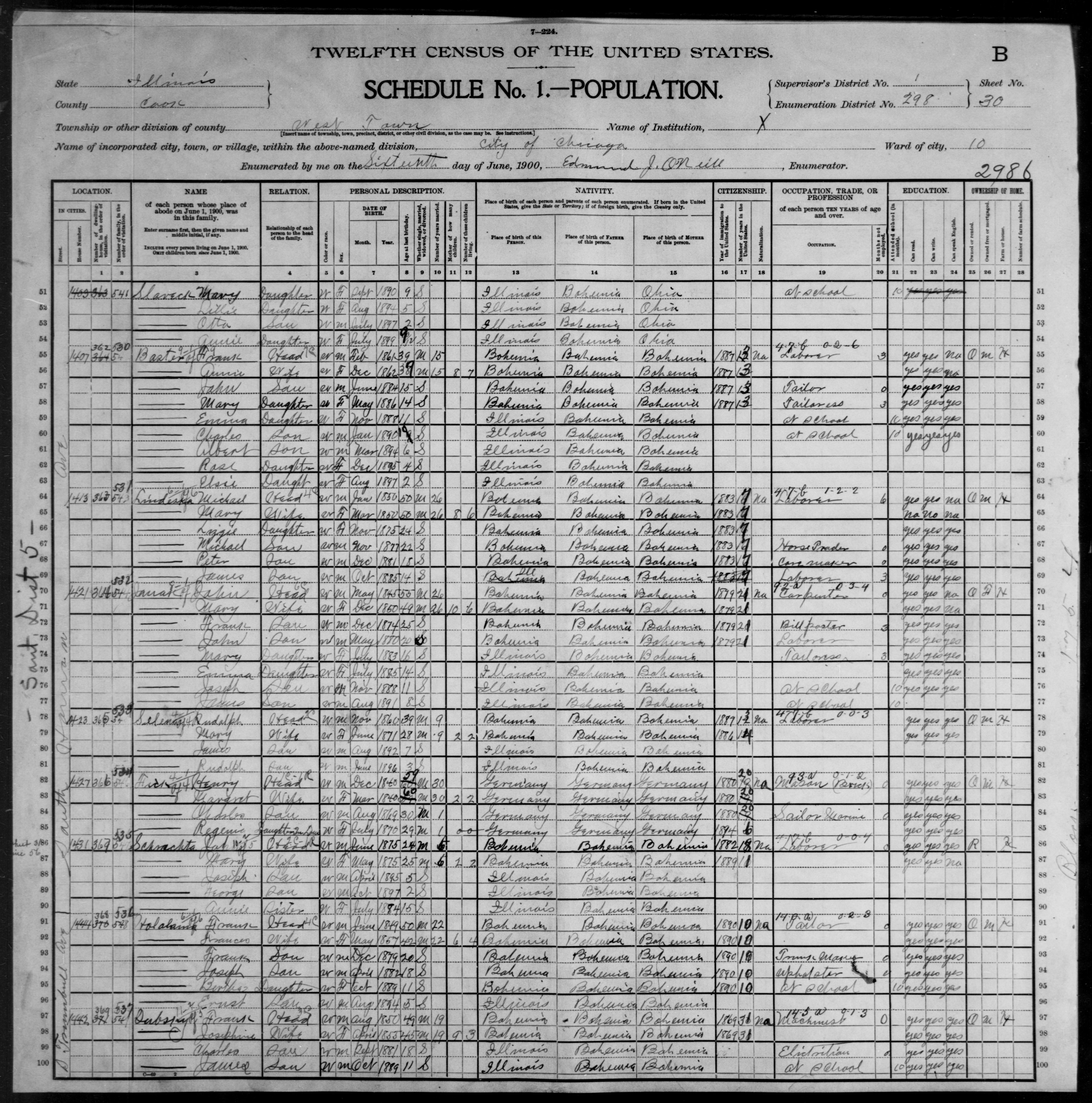 Illinois: COOK County, Enumeration District 298, Sheet No. 30B