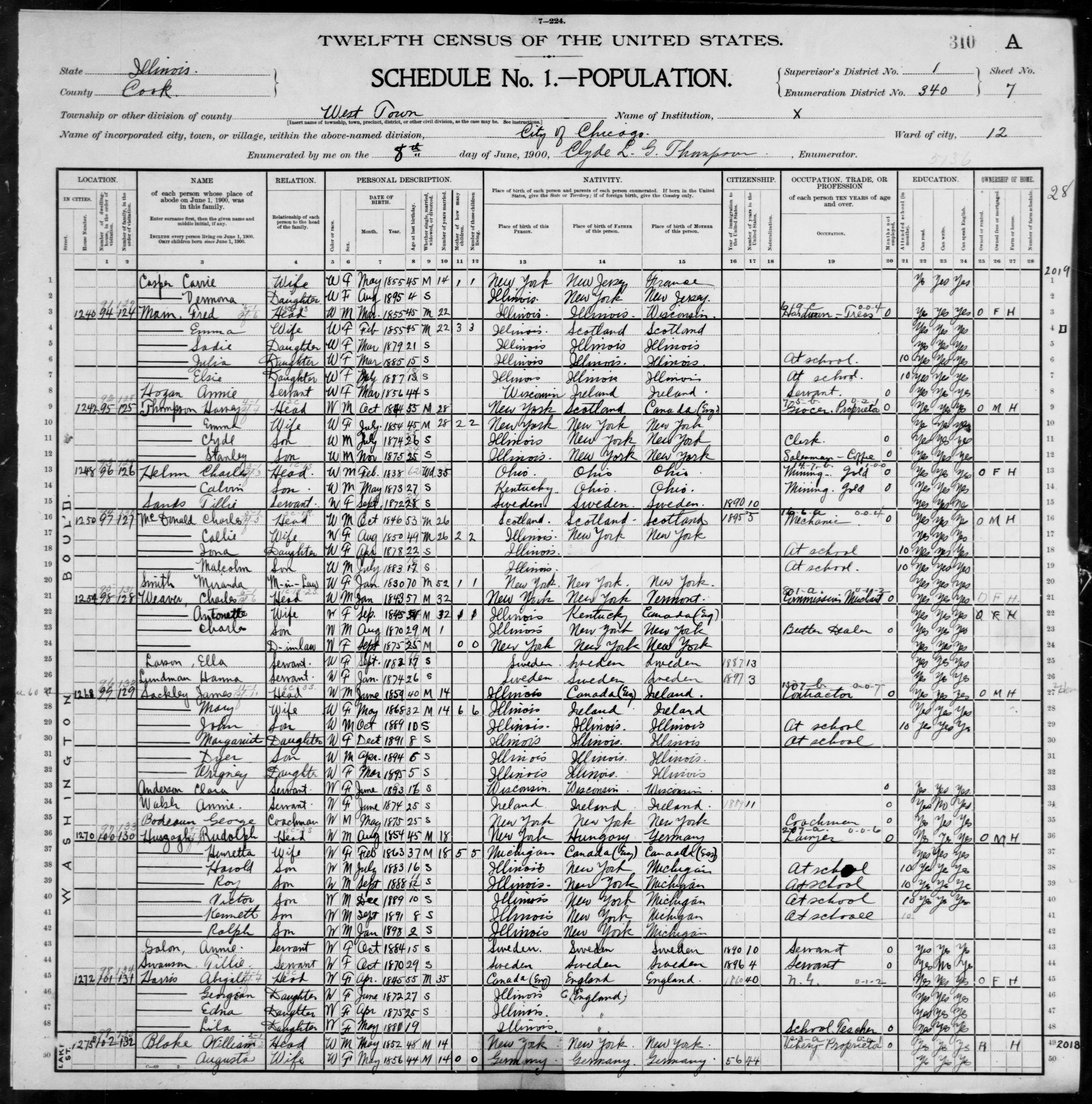 Illinois: COOK County, Enumeration District 340, Sheet No. 7A