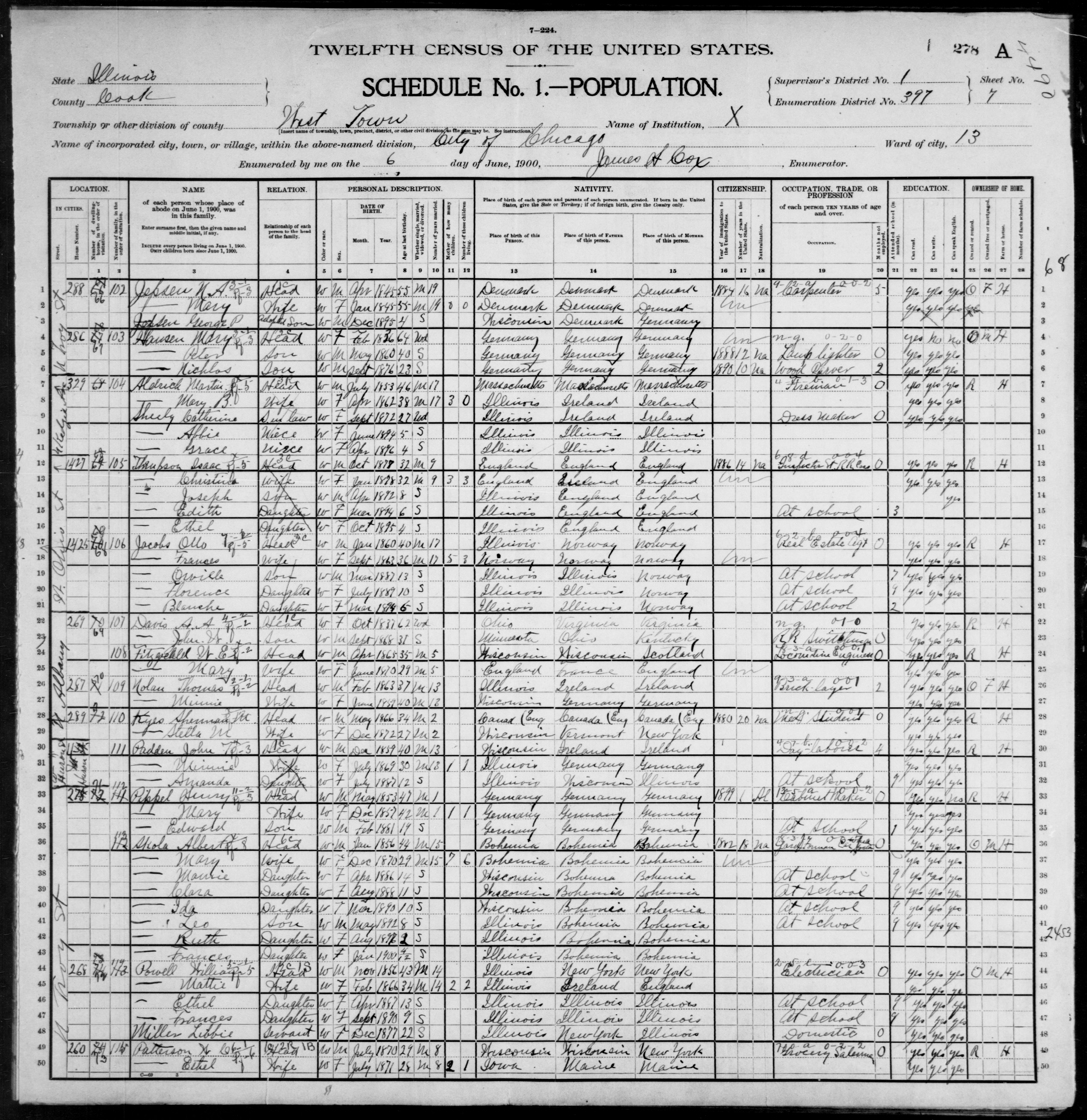 Illinois: COOK County, Enumeration District 397, Sheet No. 7A