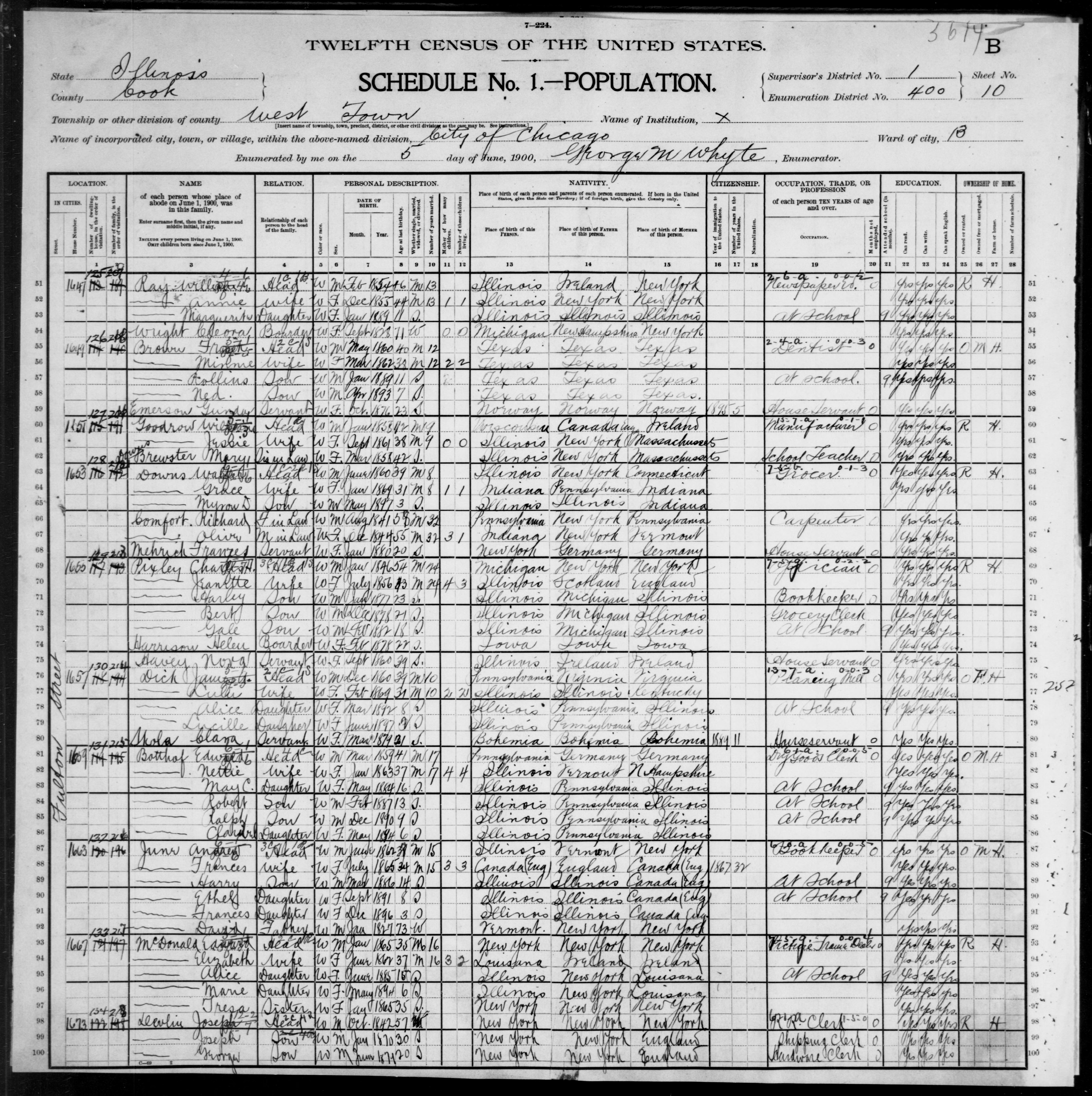 Illinois: COOK County, Enumeration District 400, Sheet No. 10B