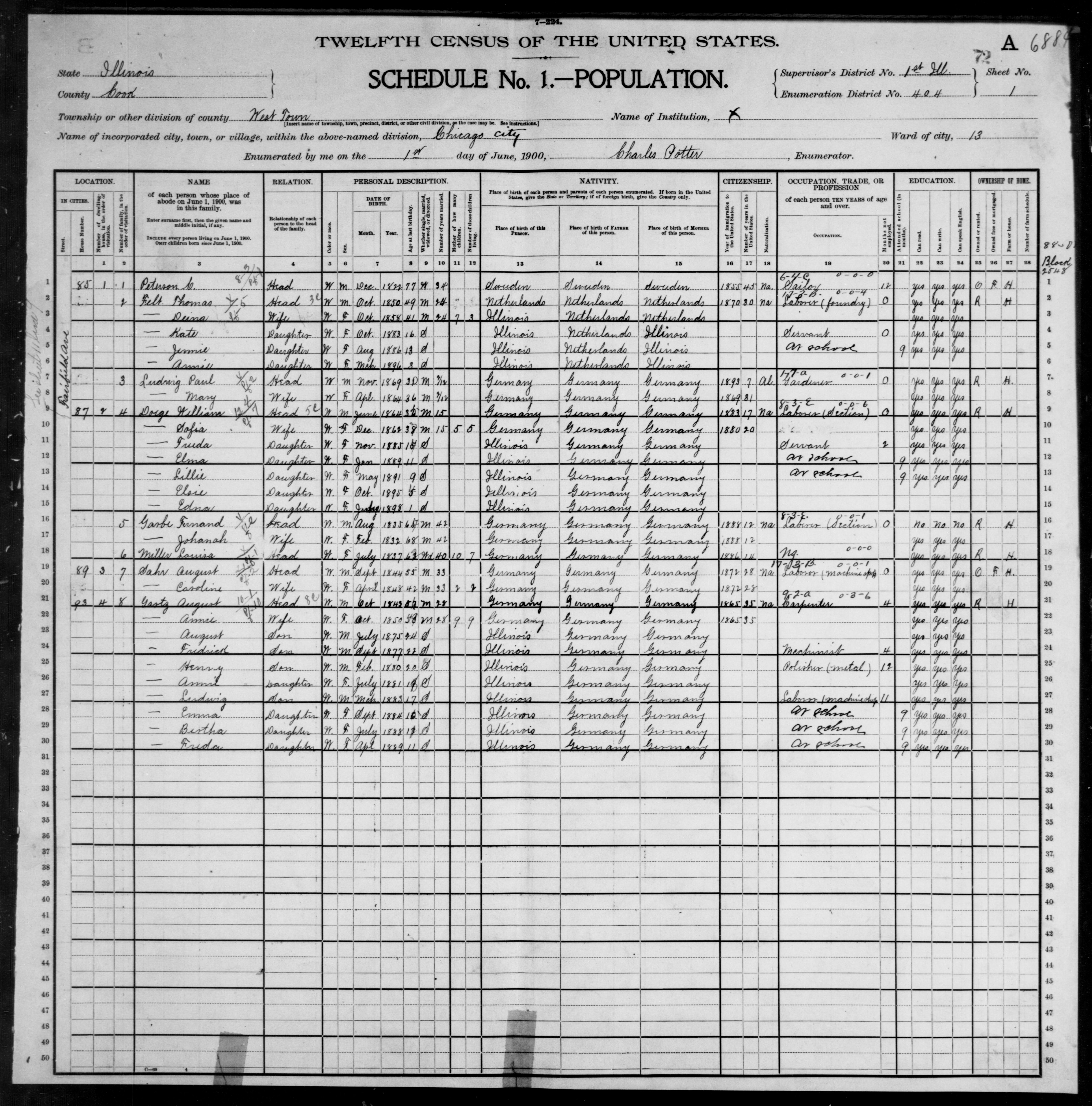 Illinois: COOK County, Enumeration District 404, Sheet No. 1A