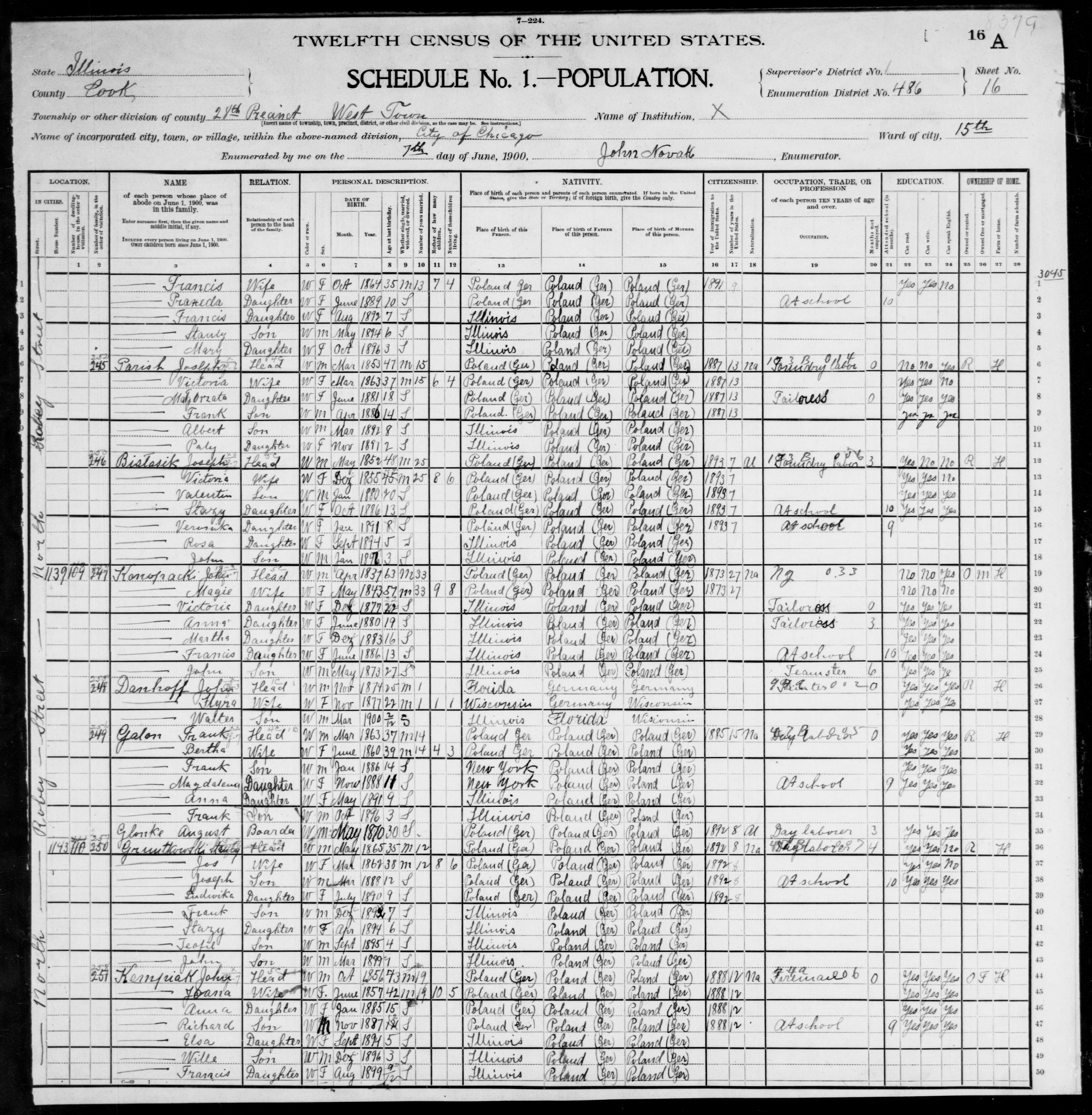 Illinois: COOK County, Enumeration District 486, Sheet No. 16A