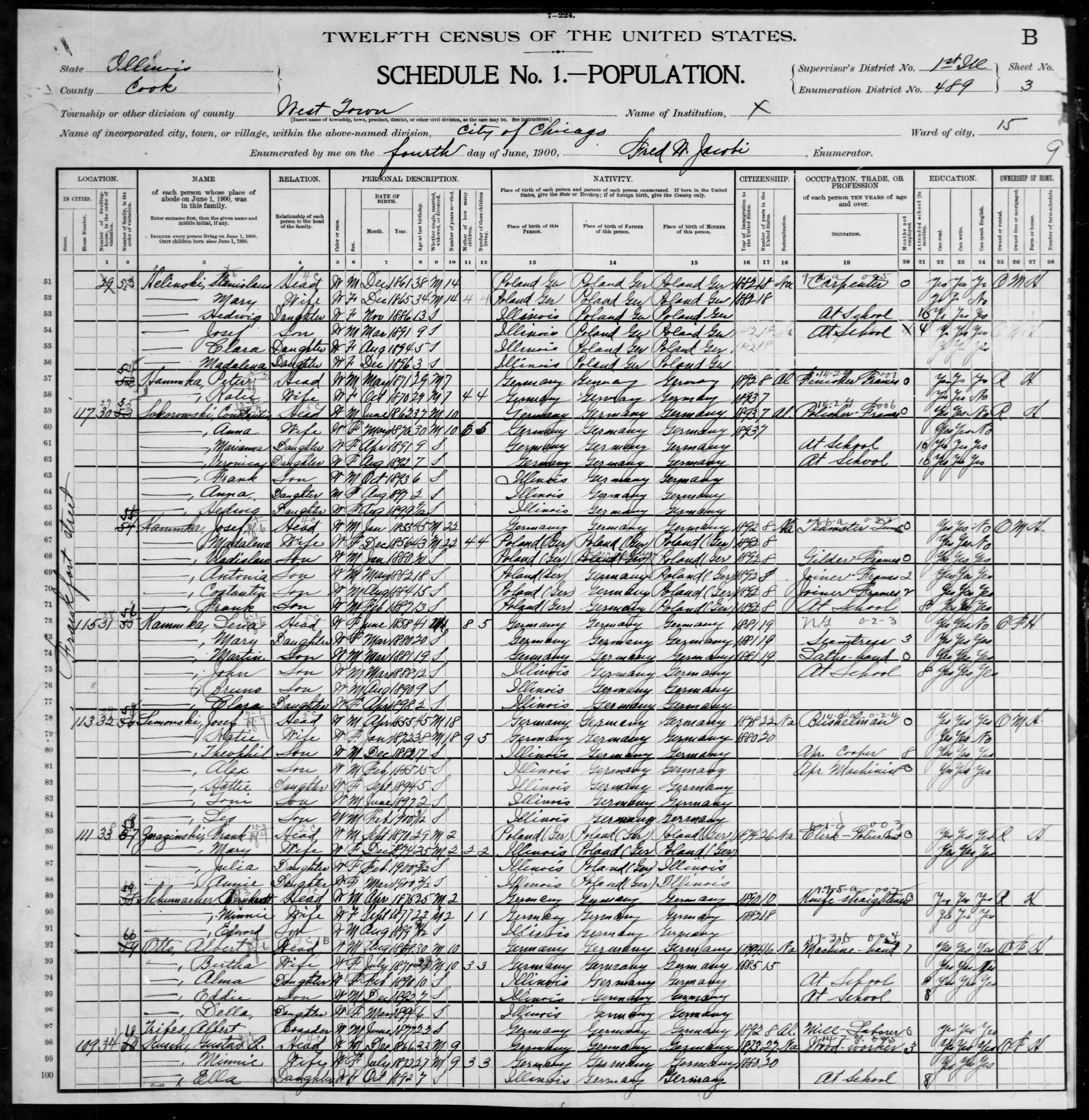 Illinois: COOK County, Enumeration District 489, Sheet No. 3B