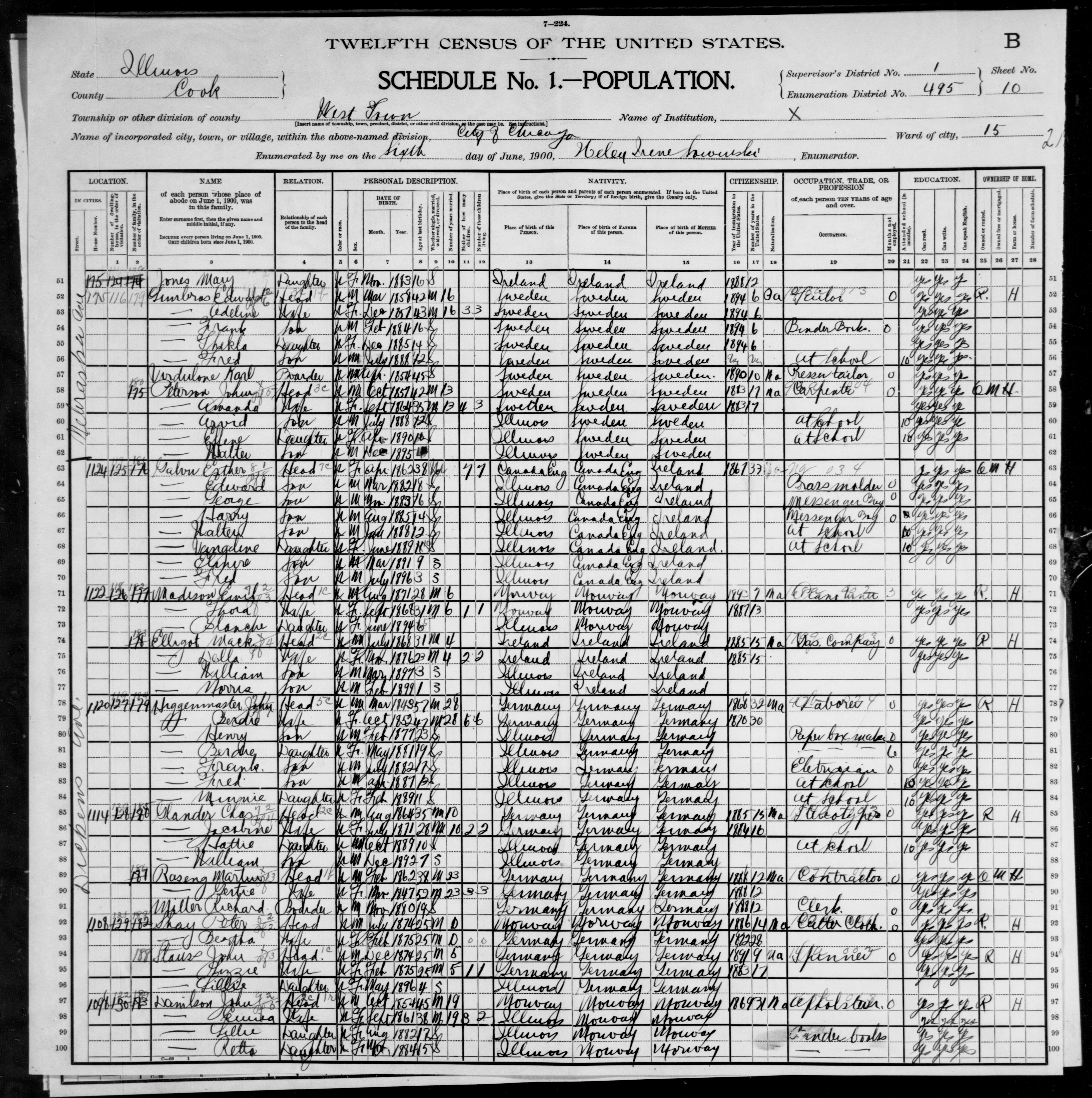 Illinois: COOK County, Enumeration District 495, Sheet No. 10B