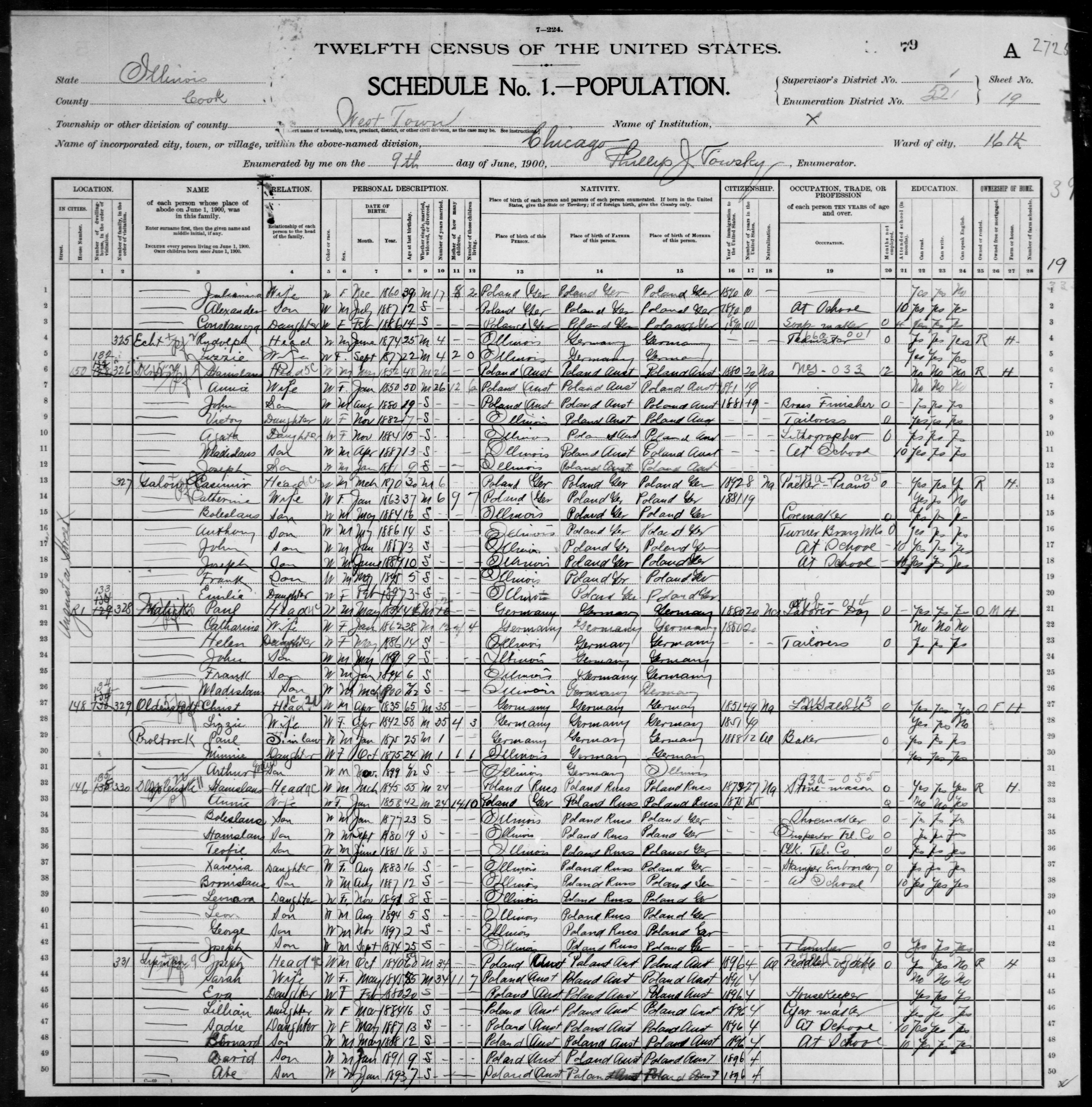 Illinois: COOK County, Enumeration District 521, Sheet No. 19A