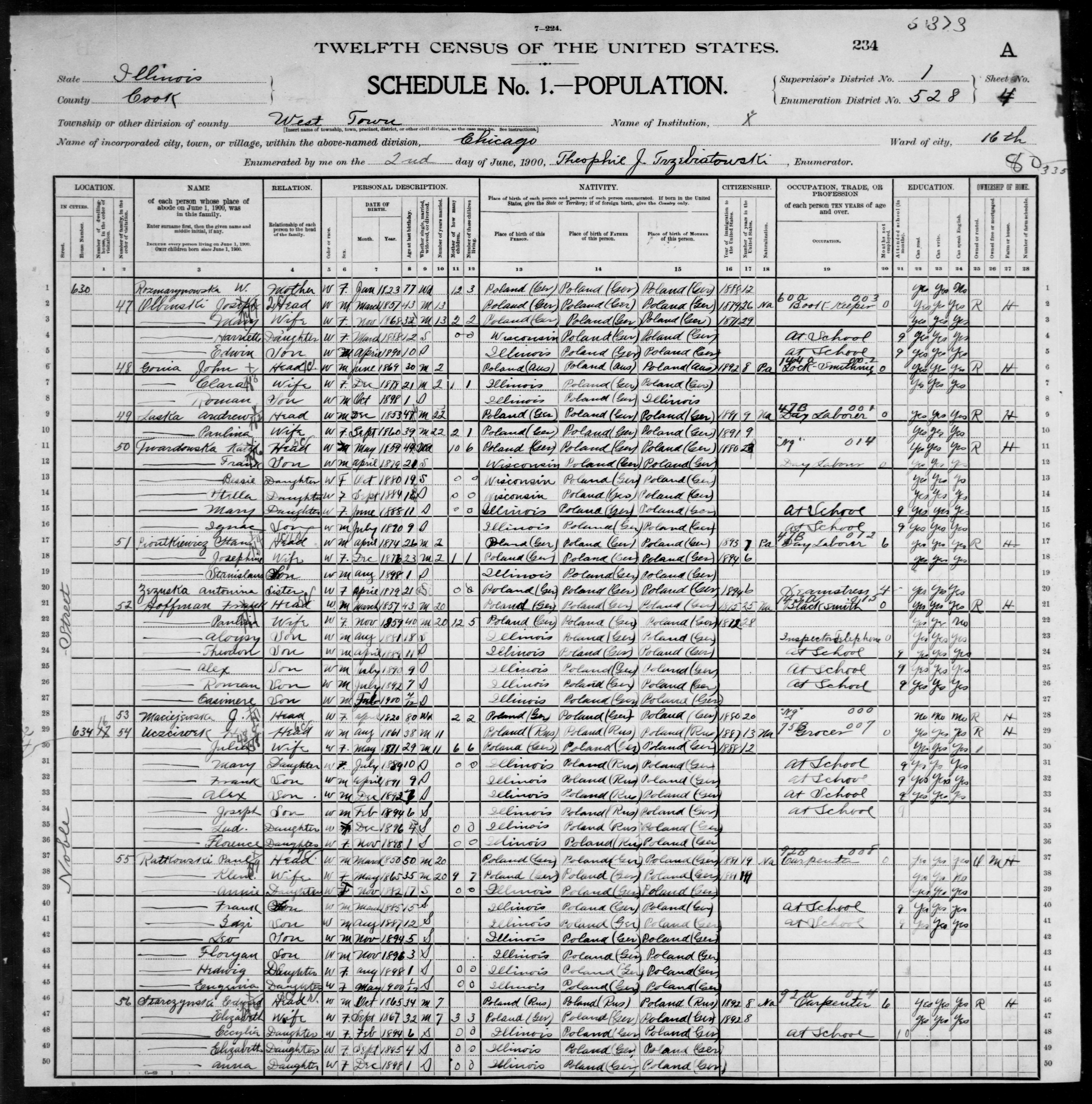 Illinois: COOK County, Enumeration District 528, Sheet No. 4A