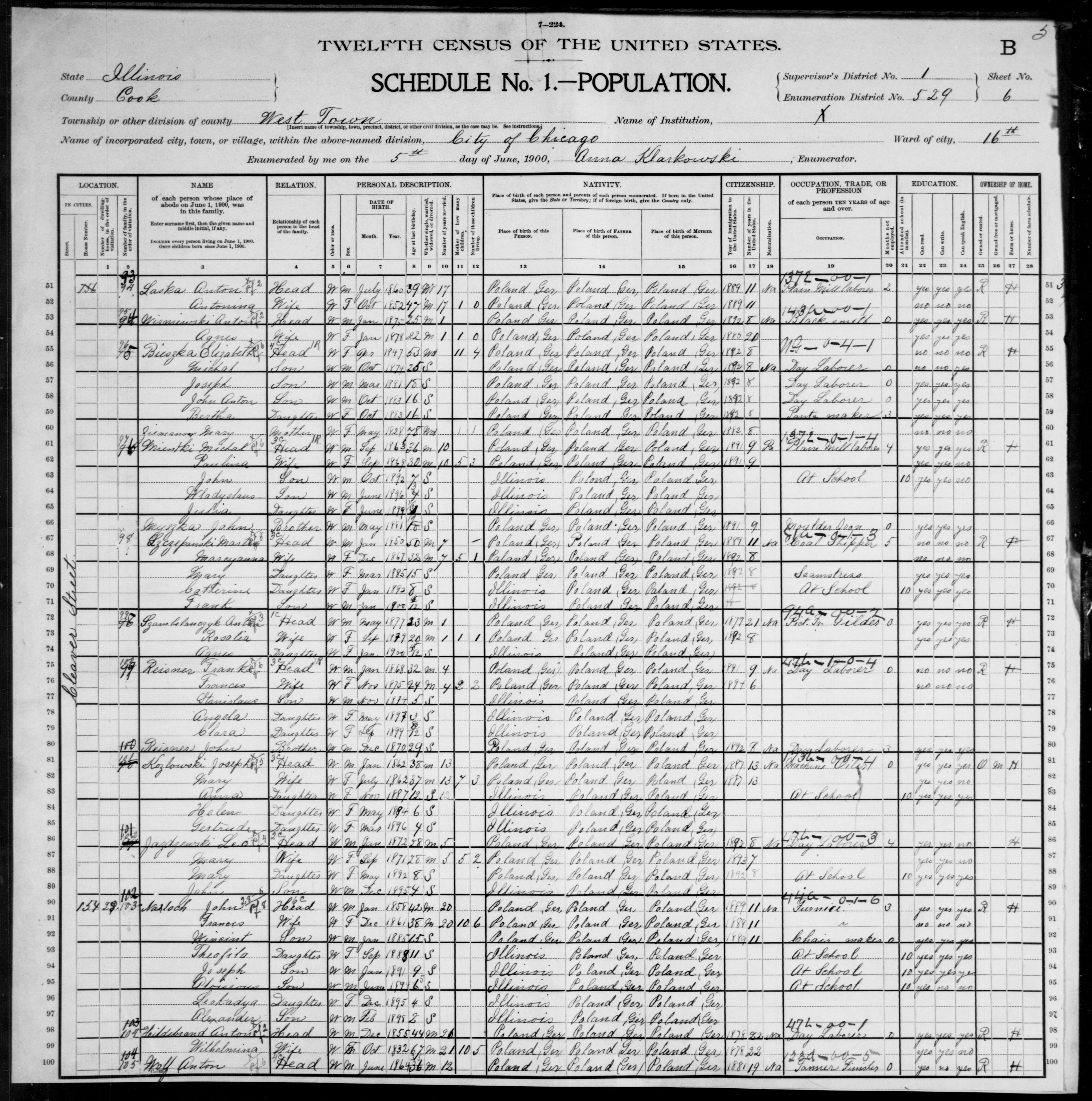 Illinois: COOK County, Enumeration District 529, Sheet No. 6B