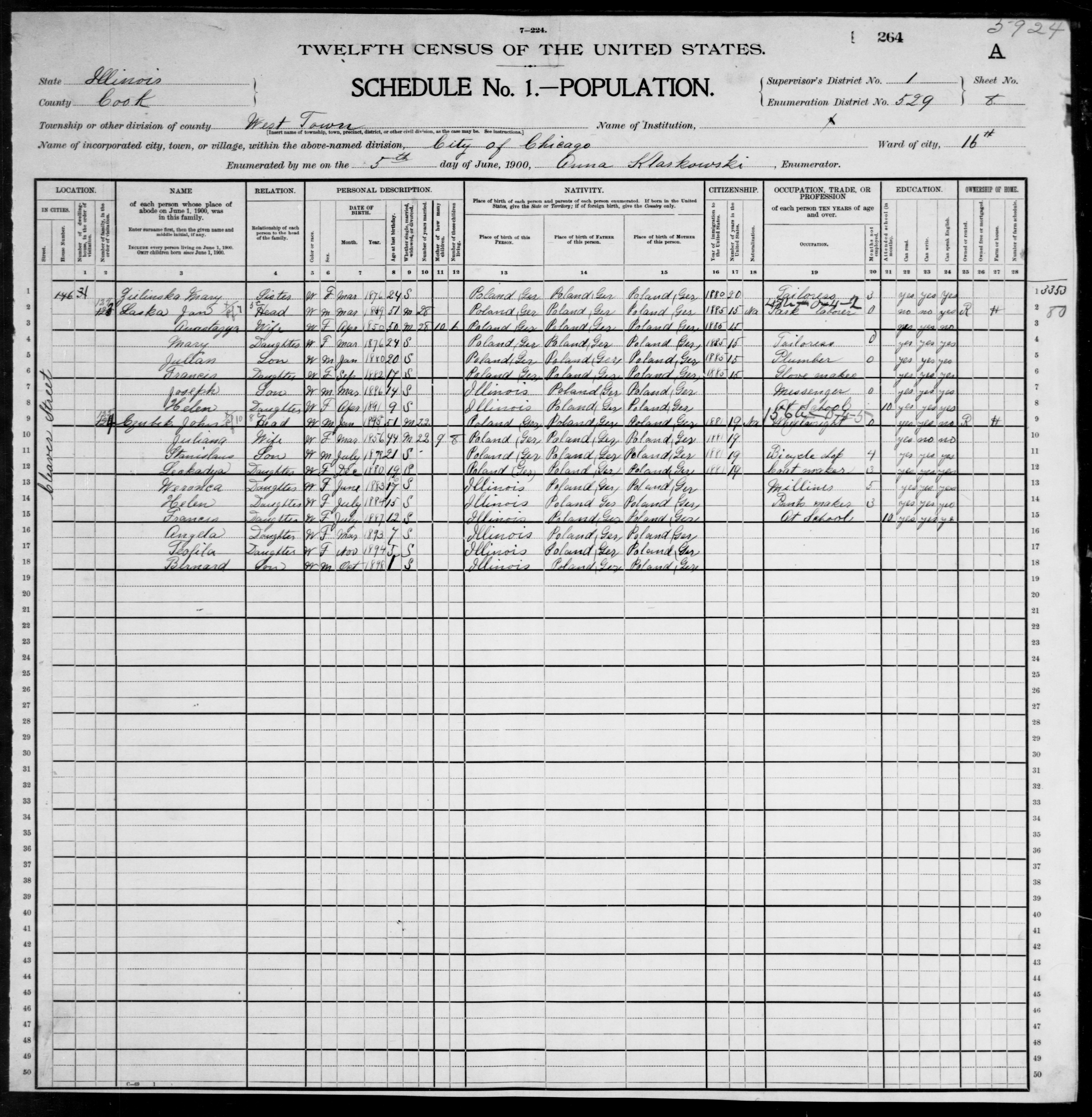 Illinois: COOK County, Enumeration District 529, Sheet No. 8A