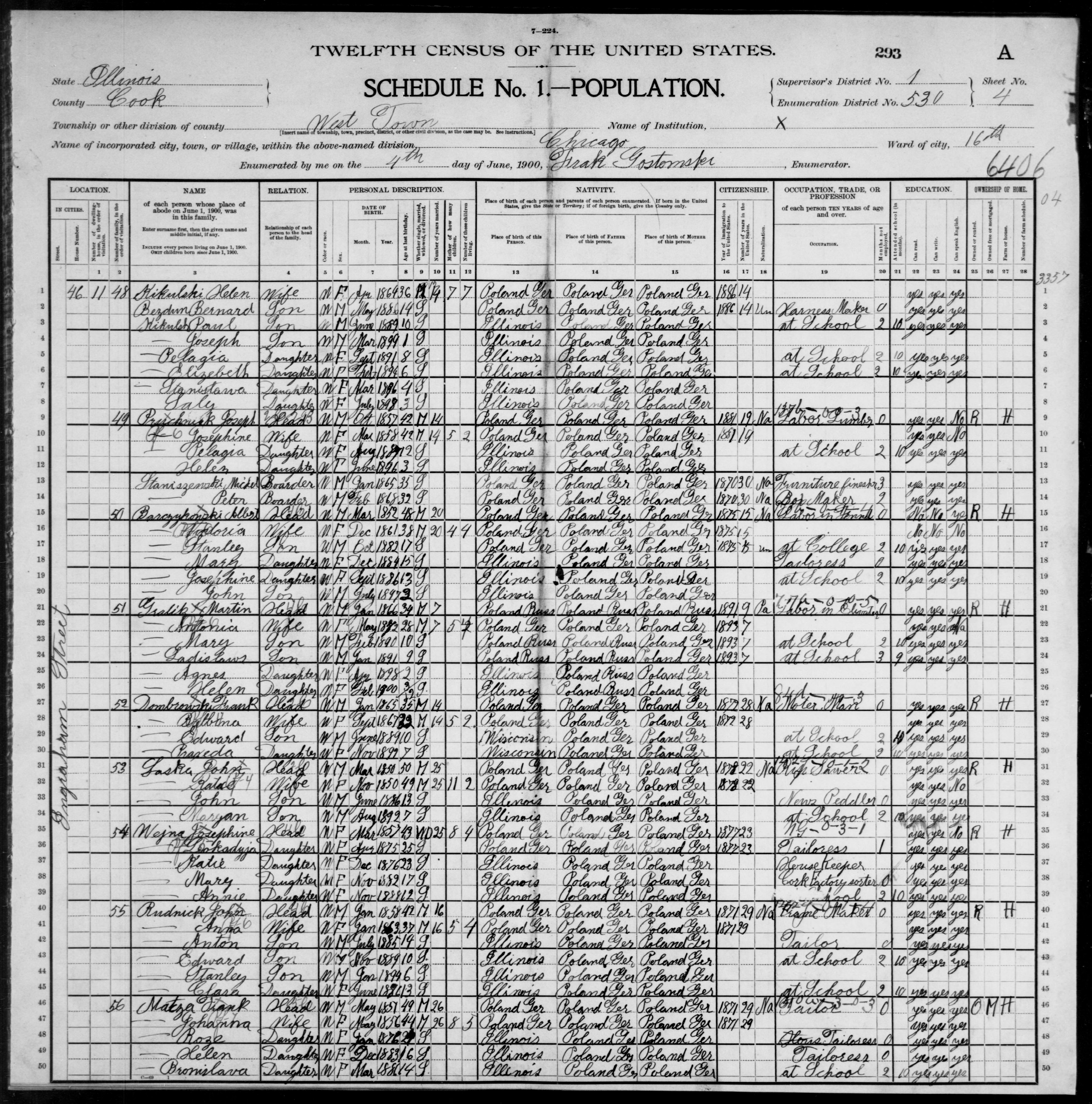 Illinois: COOK County, Enumeration District 530, Sheet No. 4A