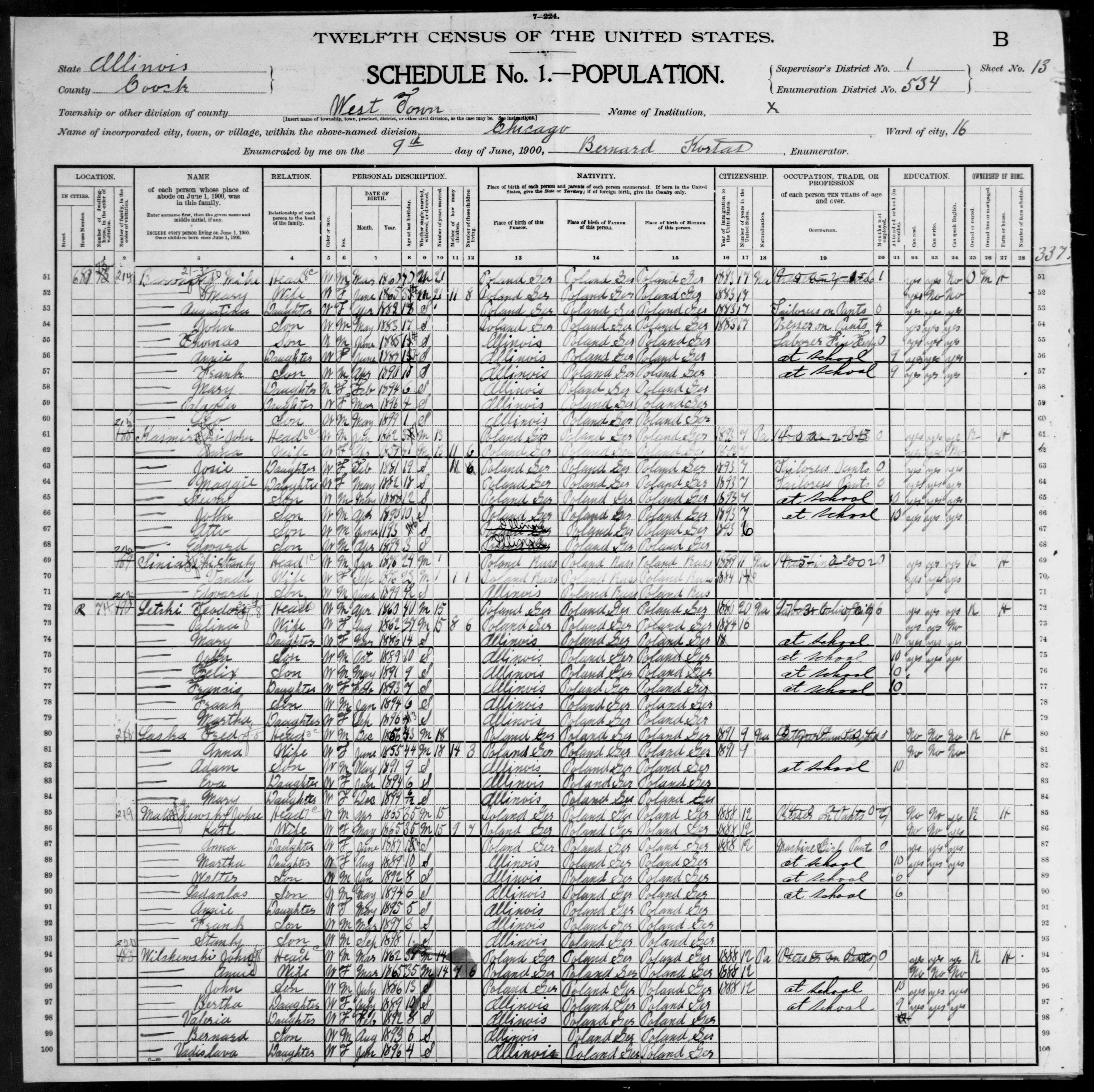 Illinois: COOK County, Enumeration District 534, Sheet No. 13B