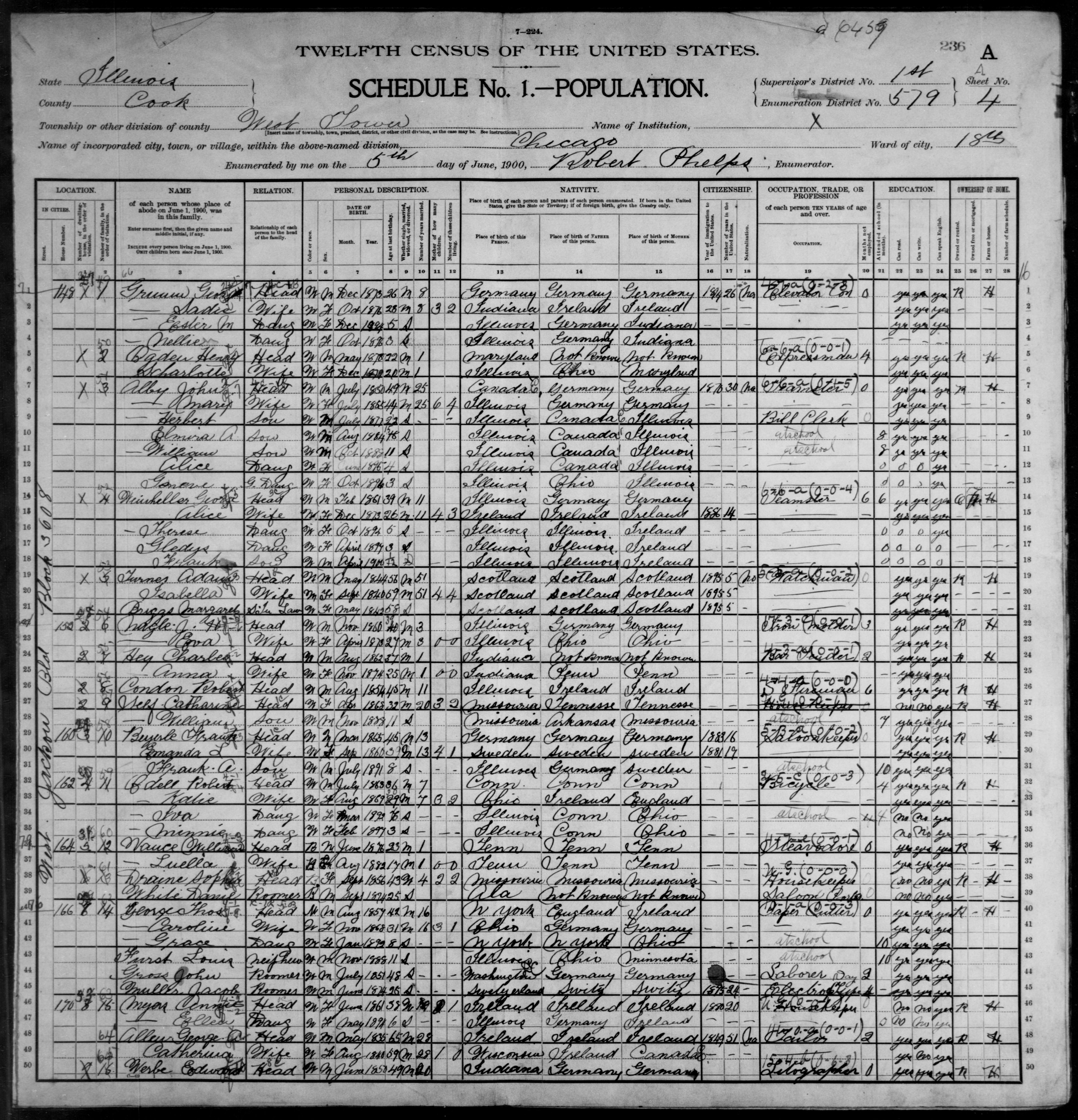 Illinois: COOK County, Enumeration District 579, Sheet No. 4A