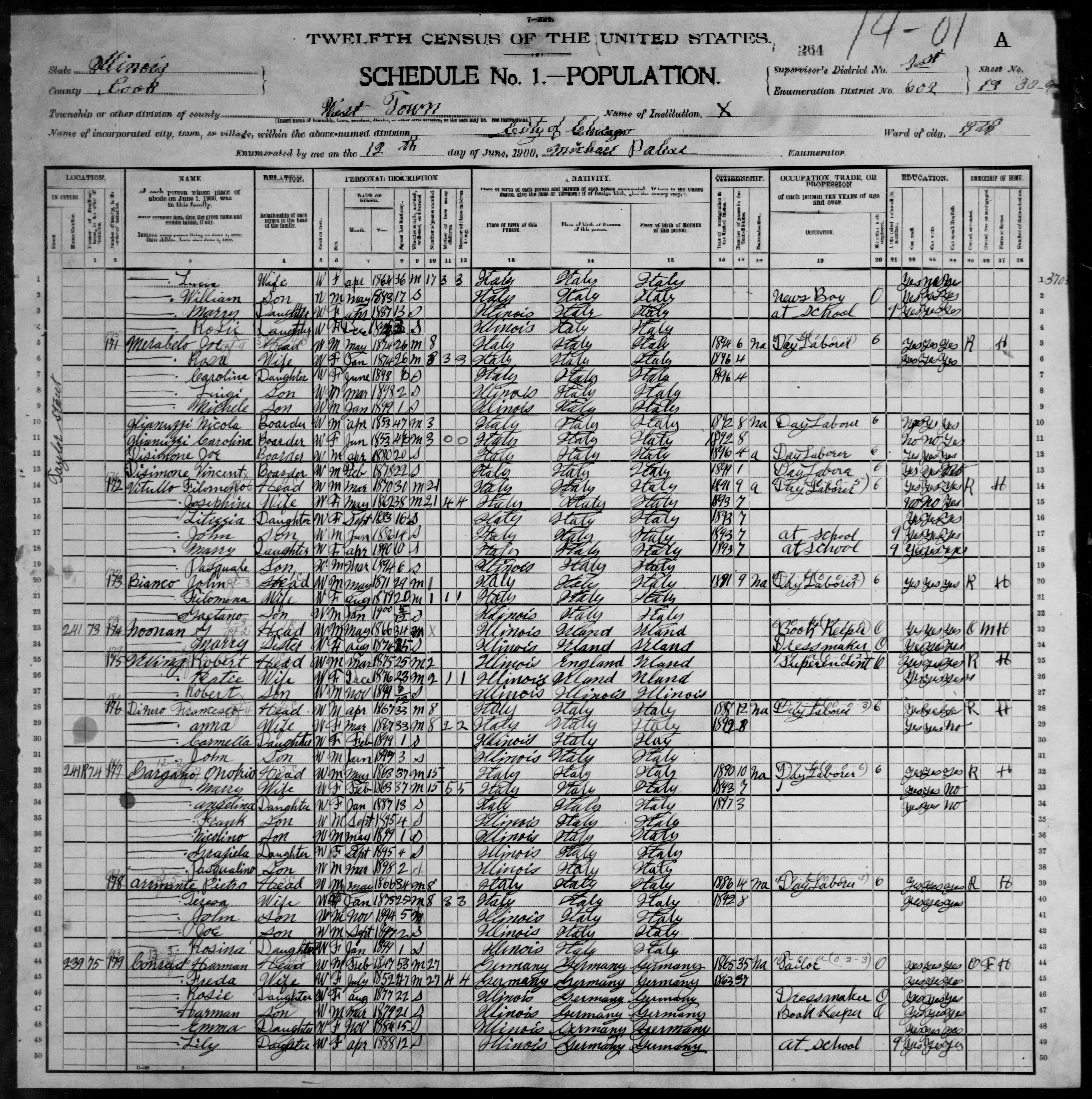 Illinois: COOK County, Enumeration District 602, Sheet No. 13A