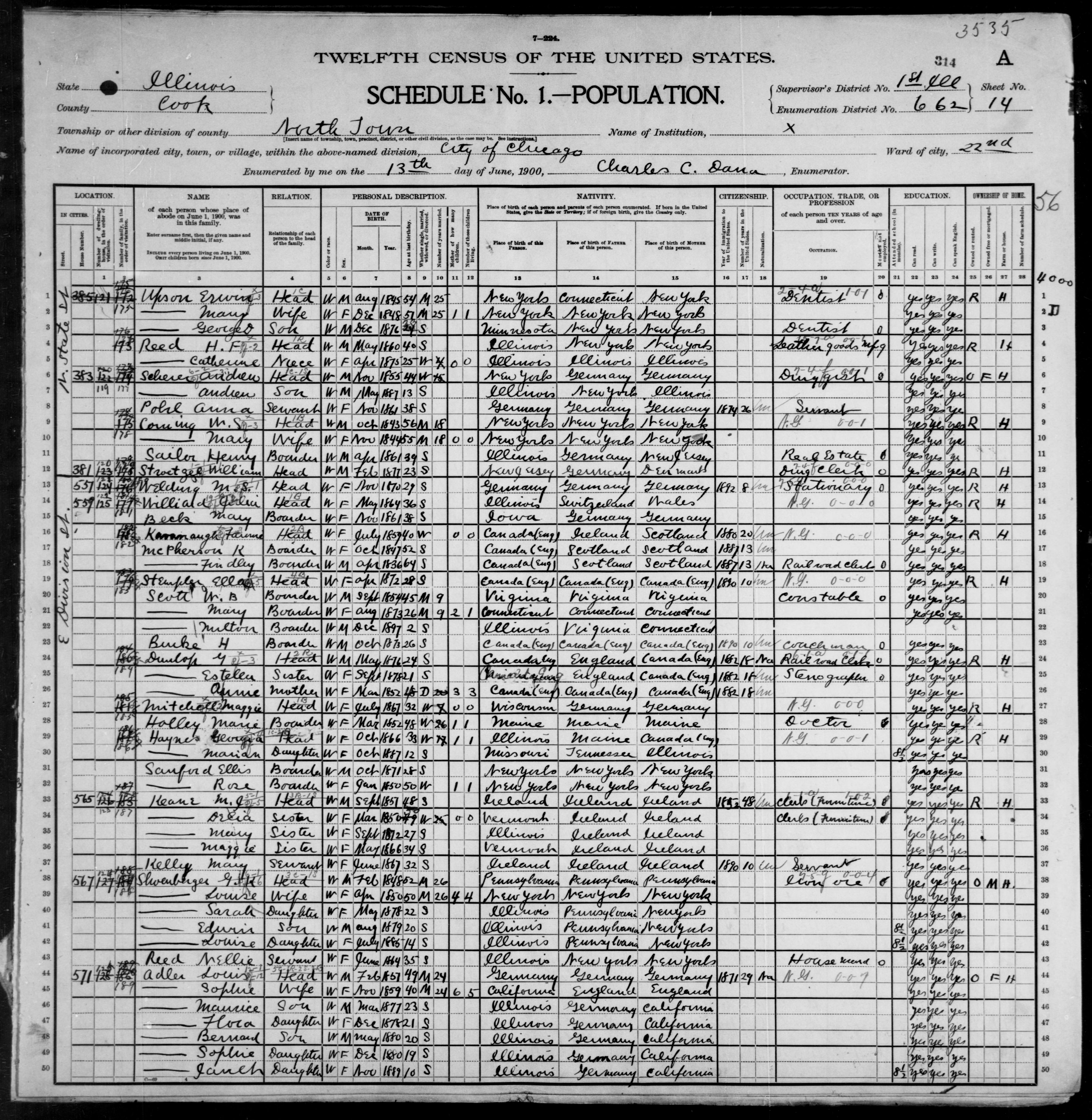 Illinois: COOK County, Enumeration District 662, Sheet No. 14A