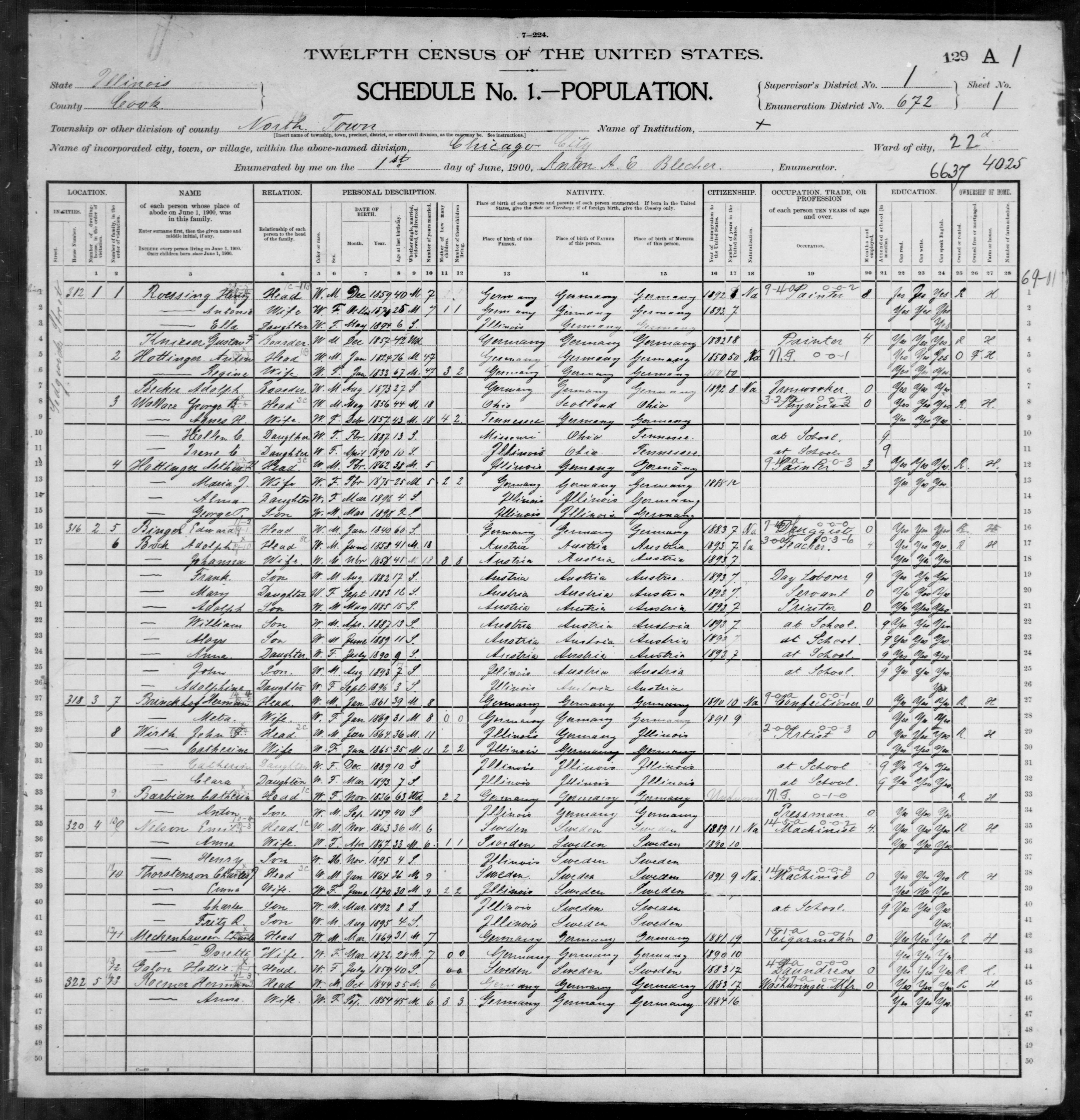 Illinois: COOK County, Enumeration District 672, Sheet No. 1A