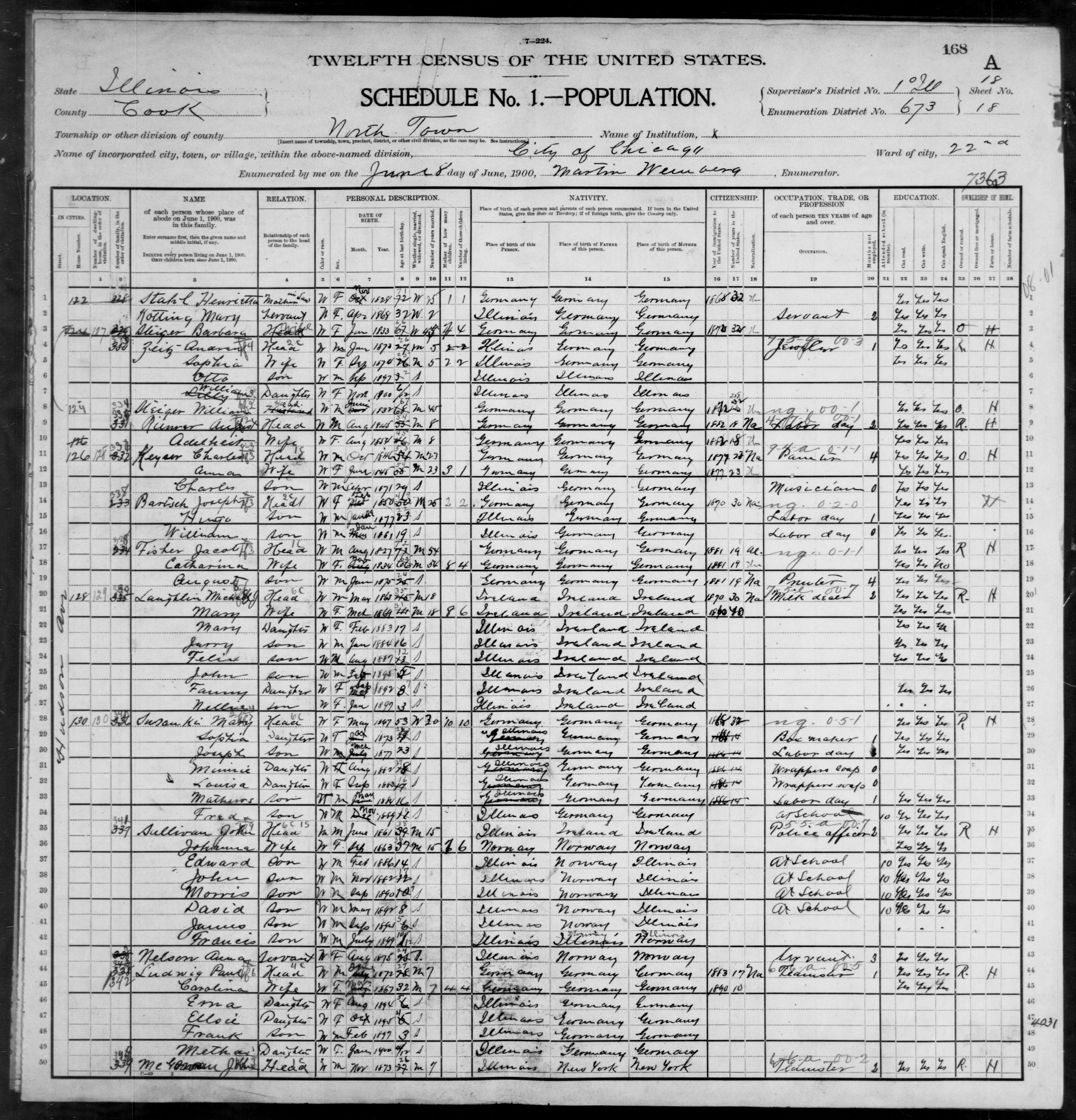 Illinois: COOK County, Enumeration District 673, Sheet No. 18A