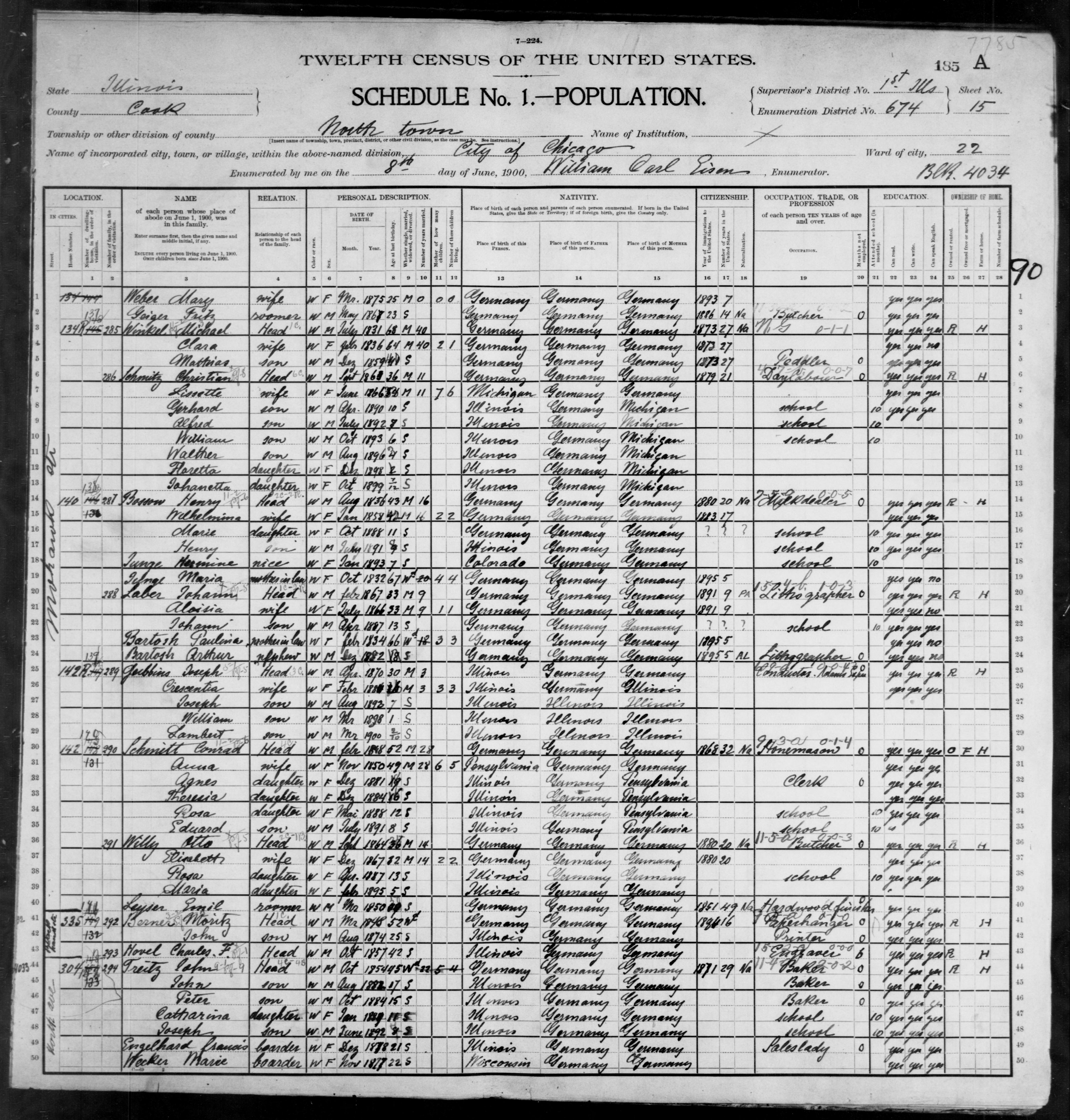 Illinois: COOK County, Enumeration District 674, Sheet No. 15A
