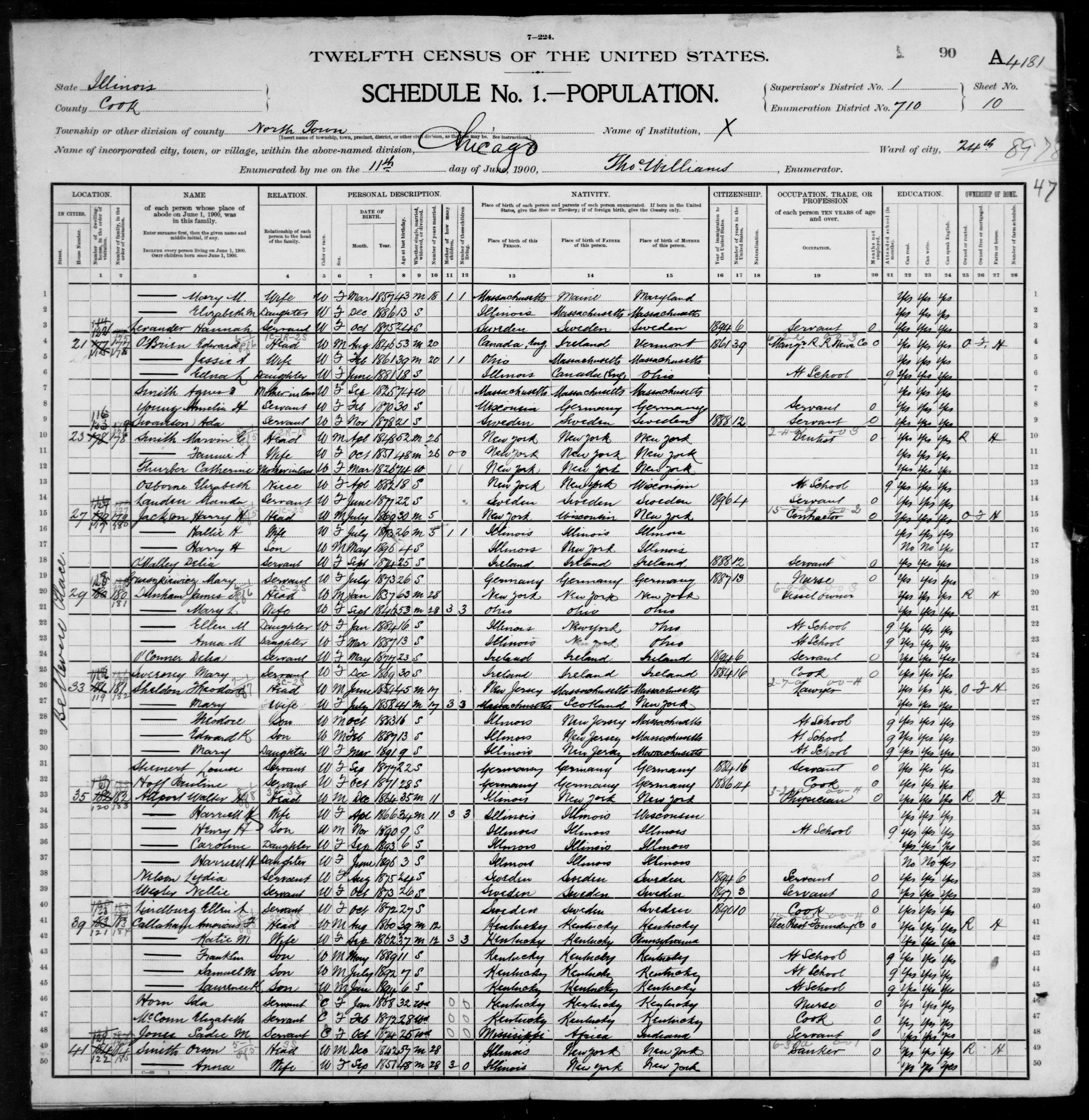 Illinois: COOK County, Enumeration District 710, Sheet No. 10A