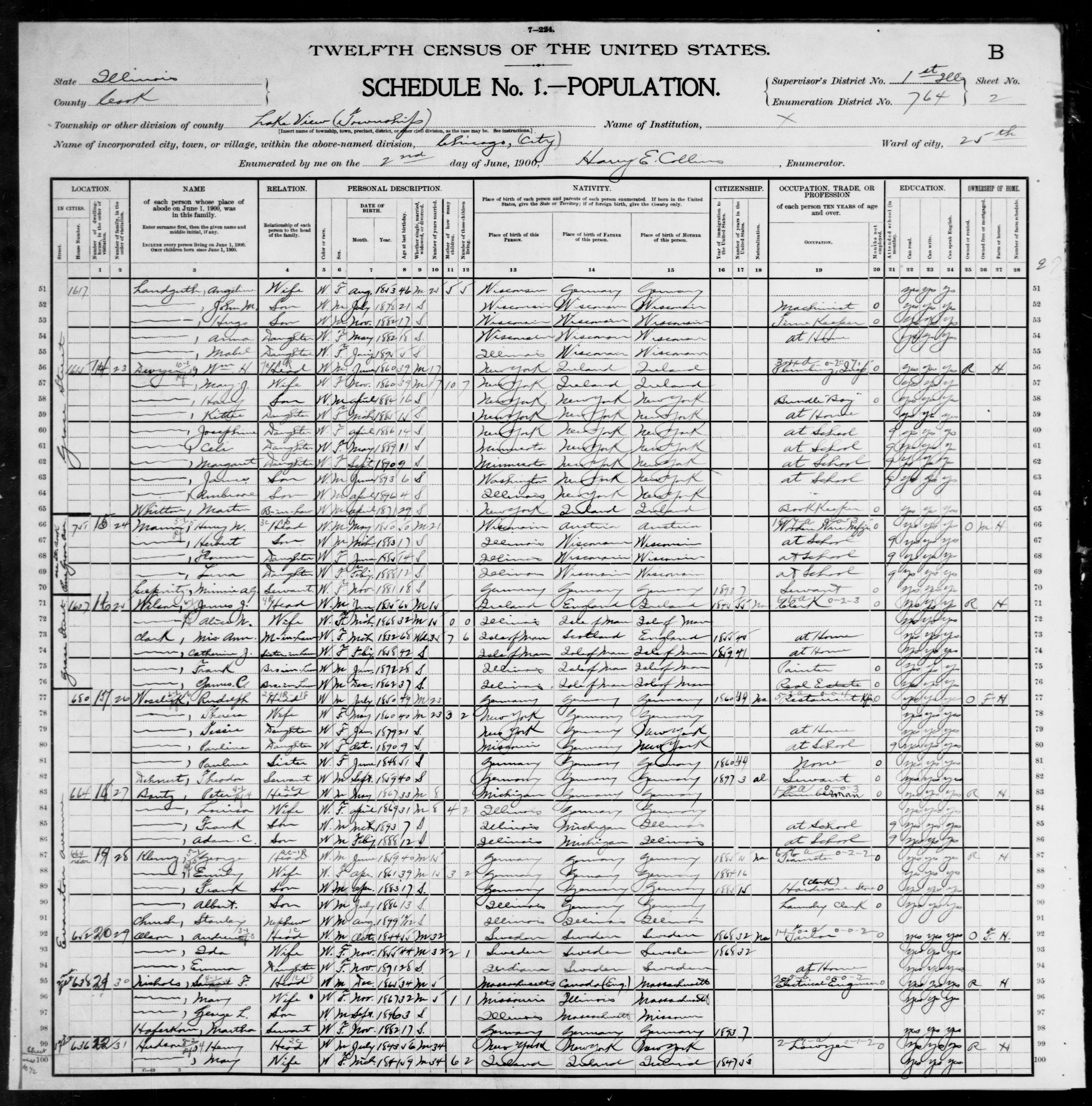 Illinois: COOK County, Enumeration District 764, Sheet No. 2B