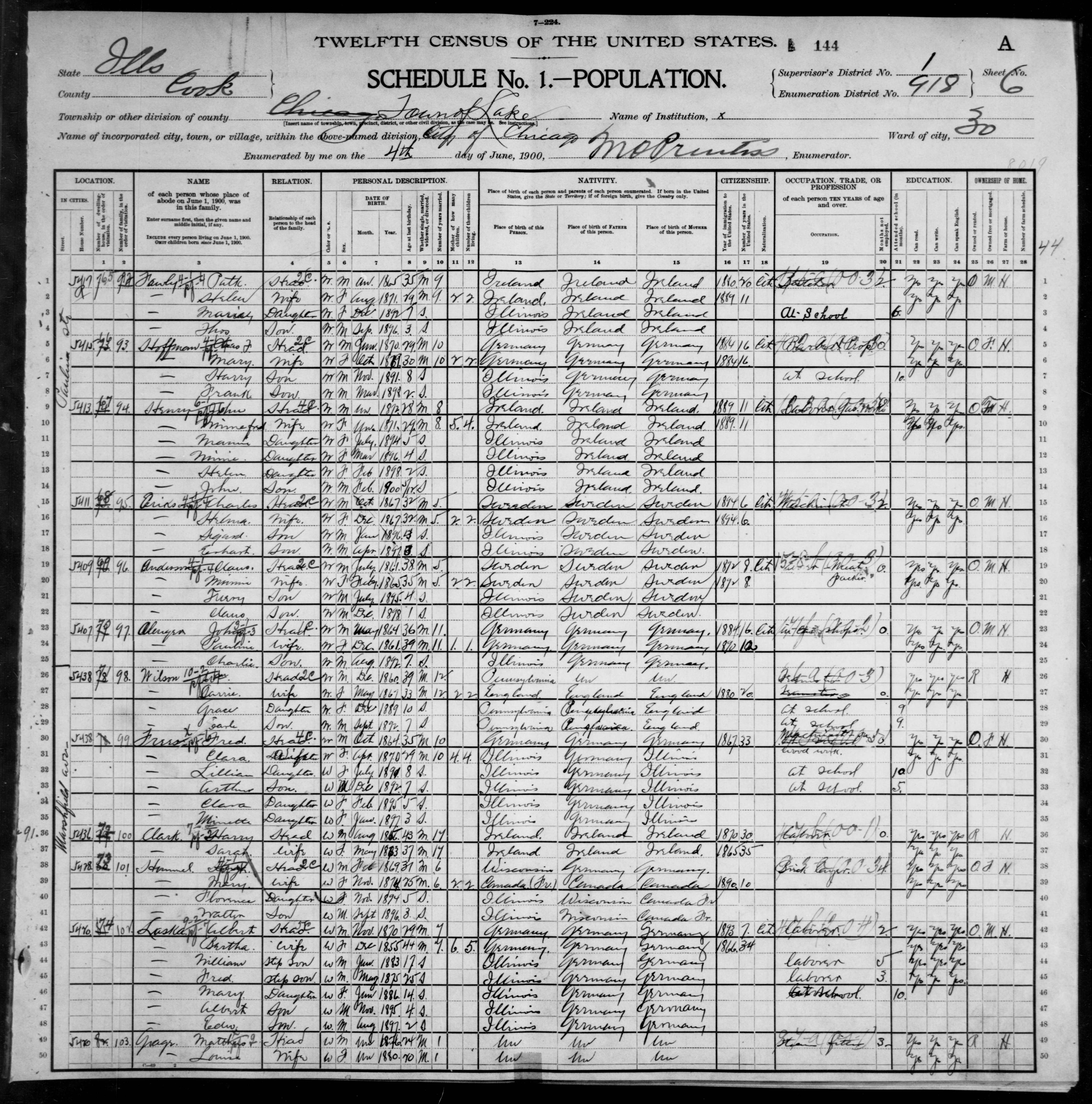Illinois: COOK County, Enumeration District 918, Sheet No. 6A