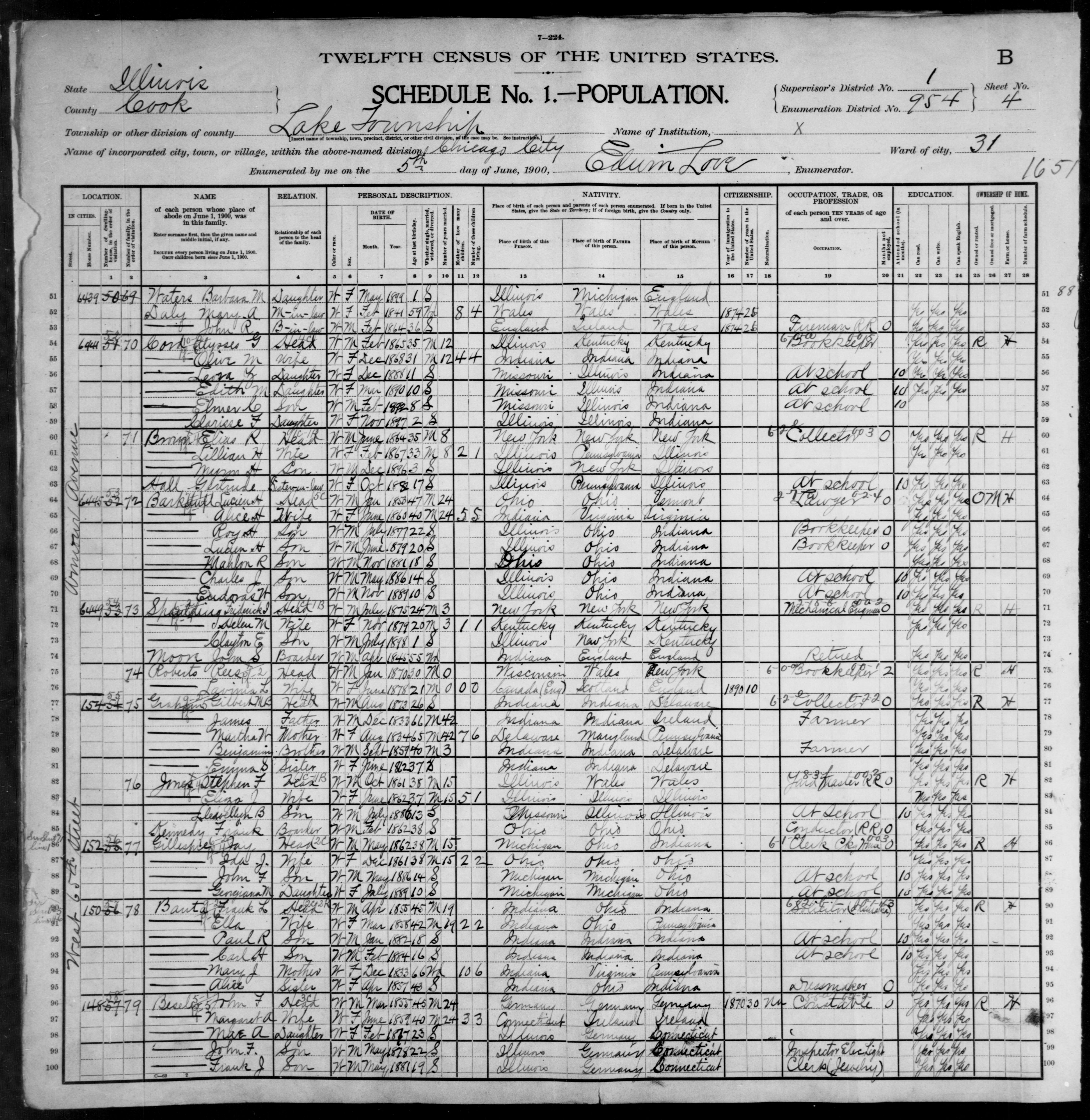 Illinois: COOK County, Enumeration District 954, Sheet No. 4B