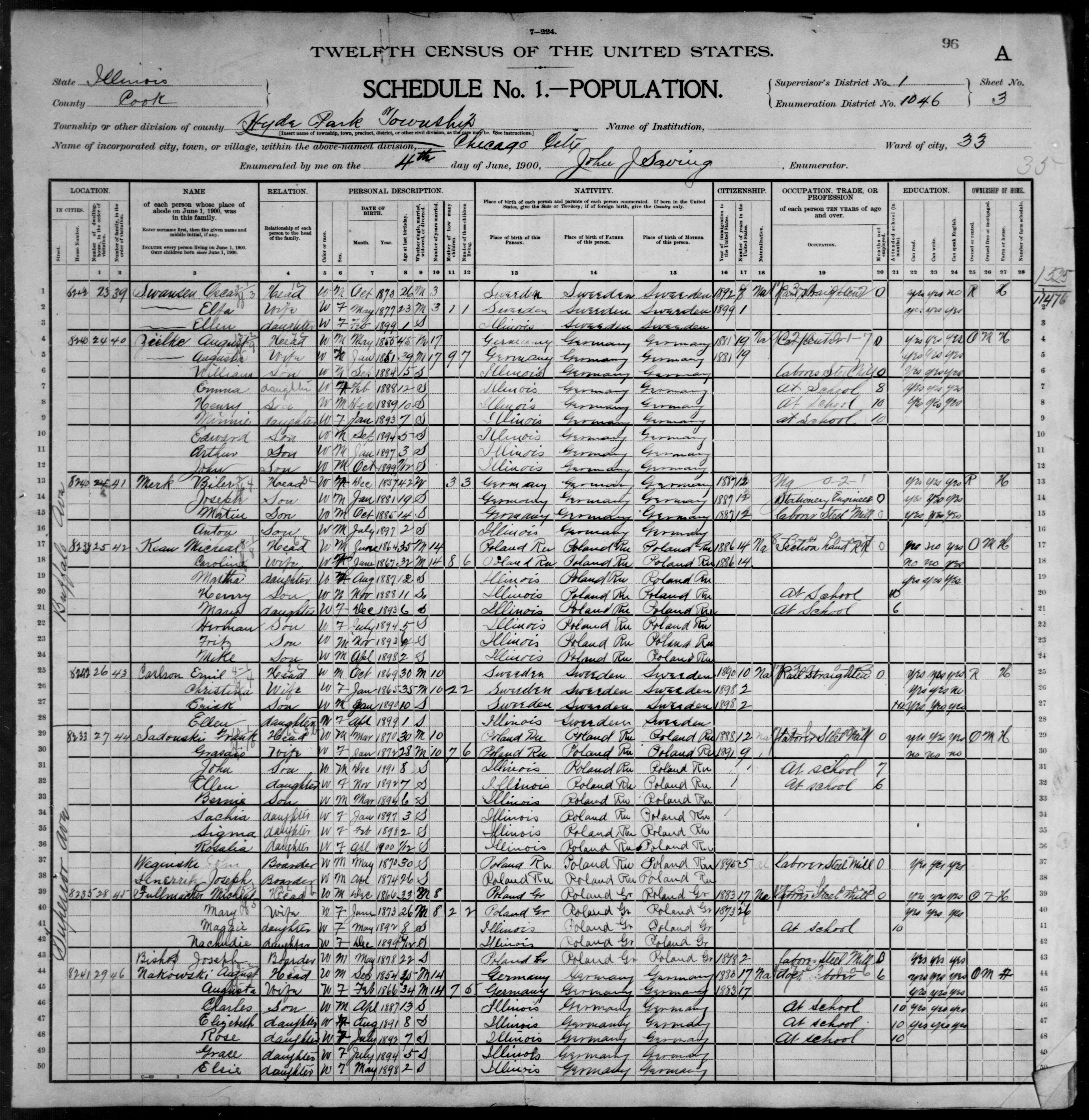 Illinois: COOK County, Enumeration District 1046, Sheet No. 3A