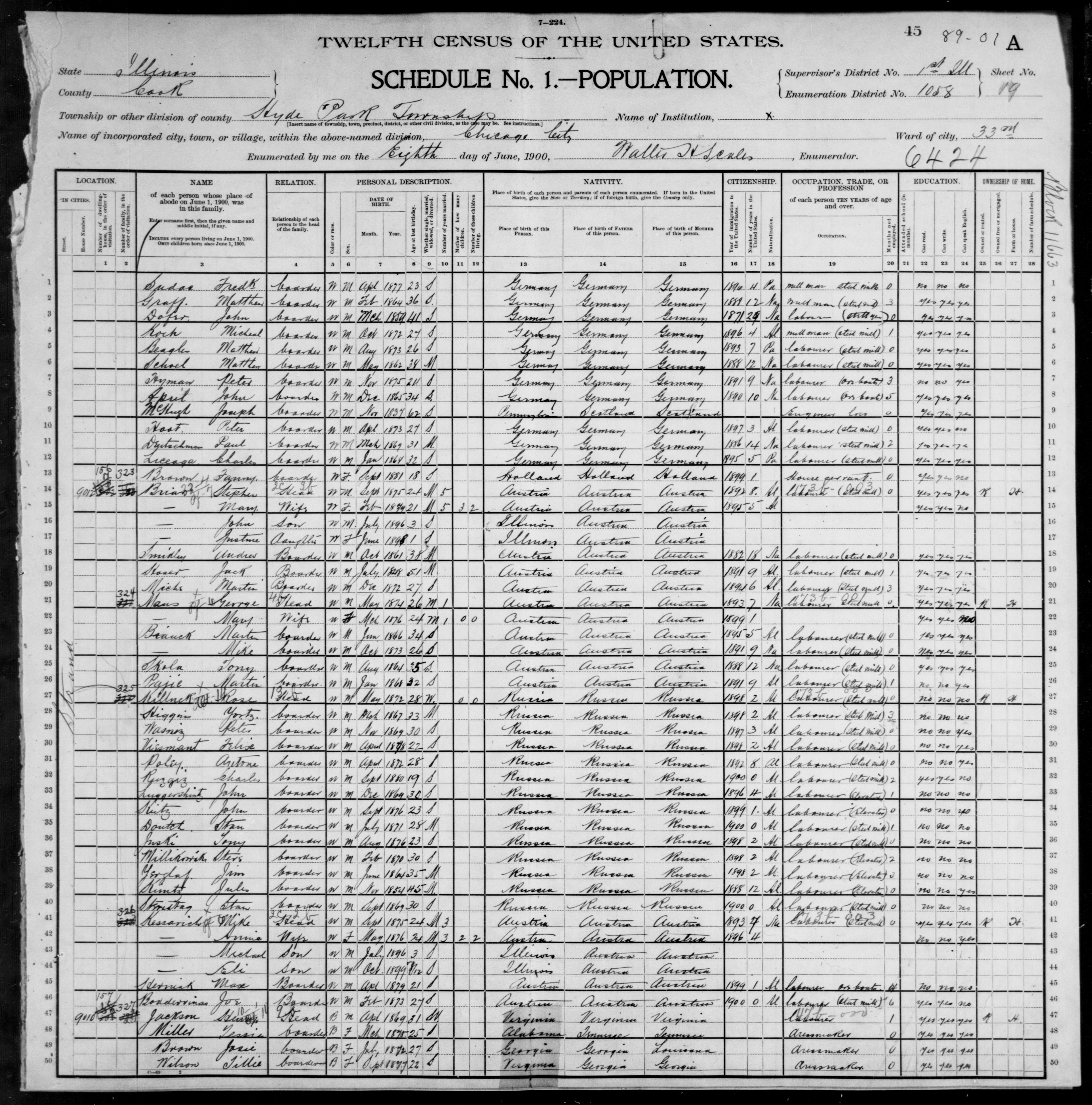 Illinois: COOK County, Enumeration District 1058, Sheet No. 19A