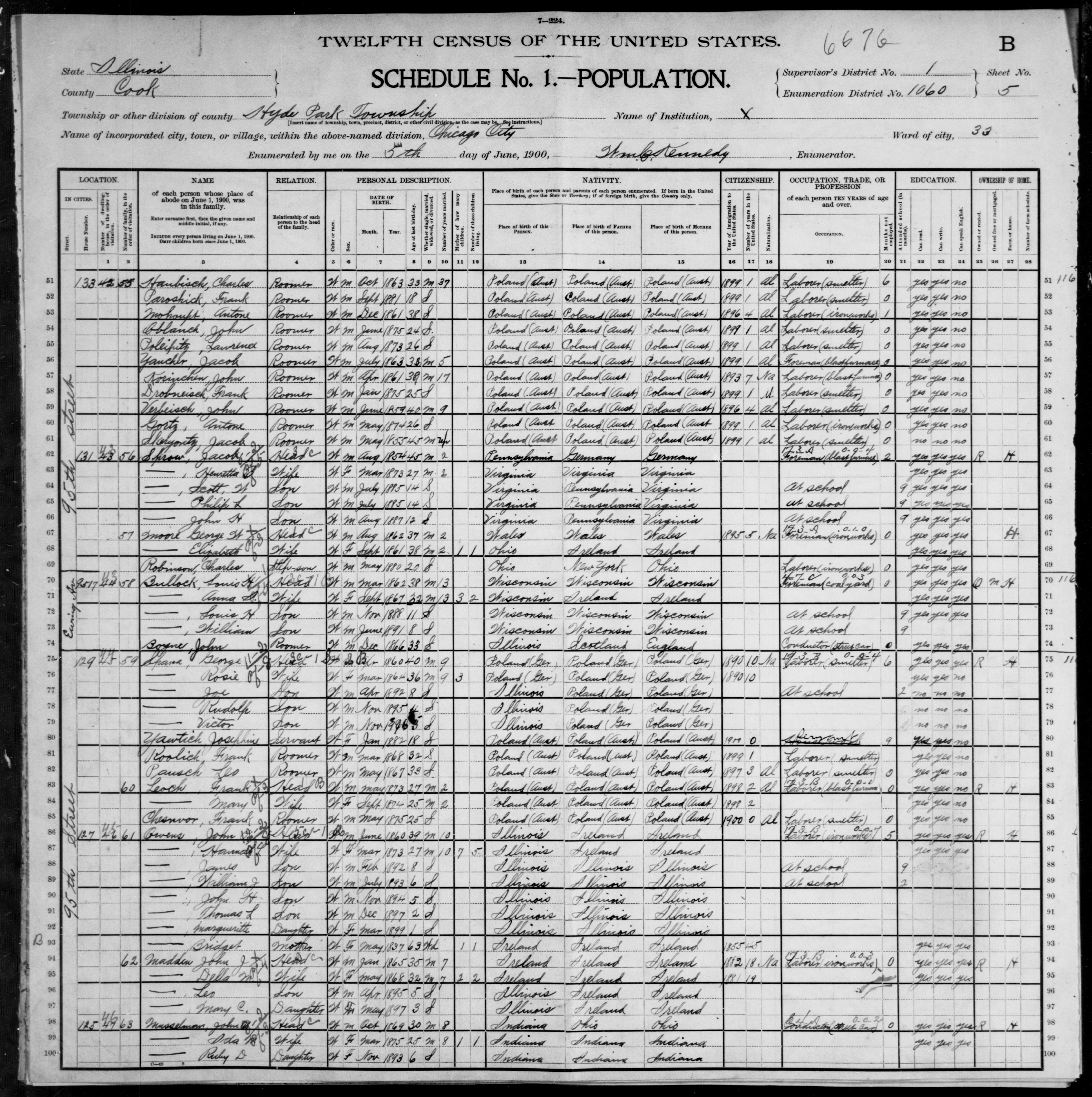 Illinois: COOK County, Enumeration District 1060, Sheet No. 5B