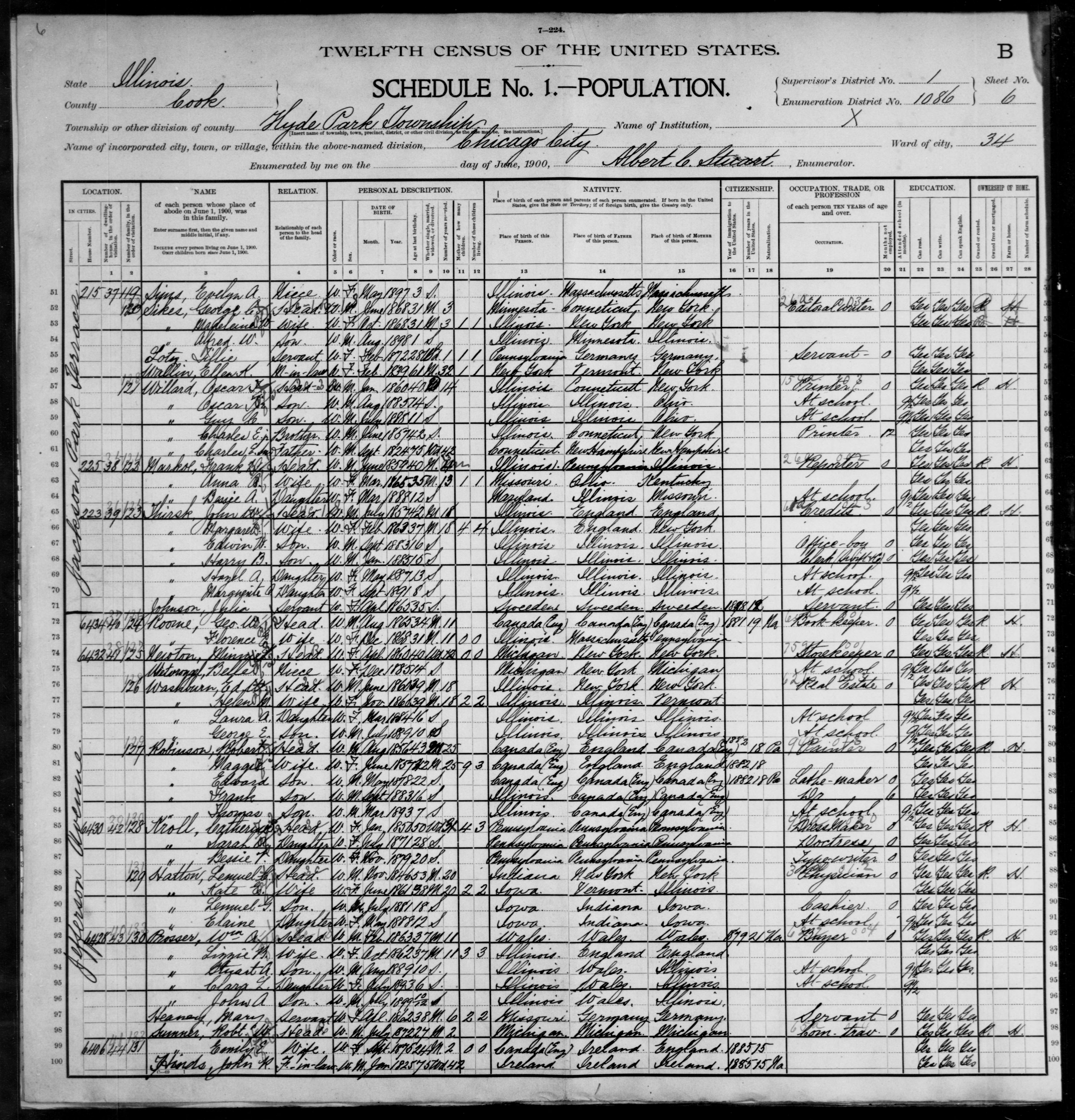 Illinois: COOK County, Enumeration District 1086, Sheet No. 6B