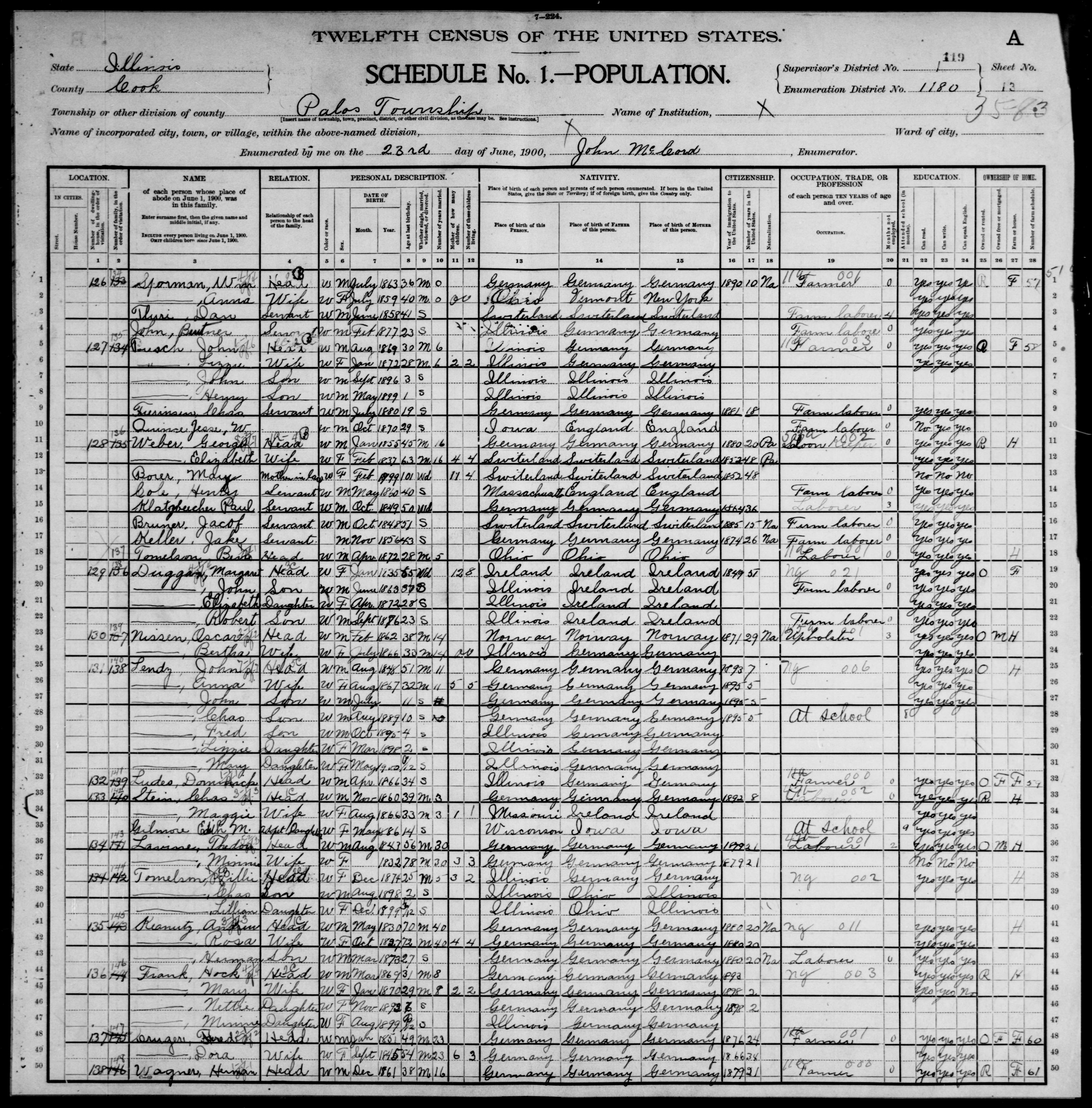 Illinois: COOK County, Enumeration District 1180, Sheet No. 13A