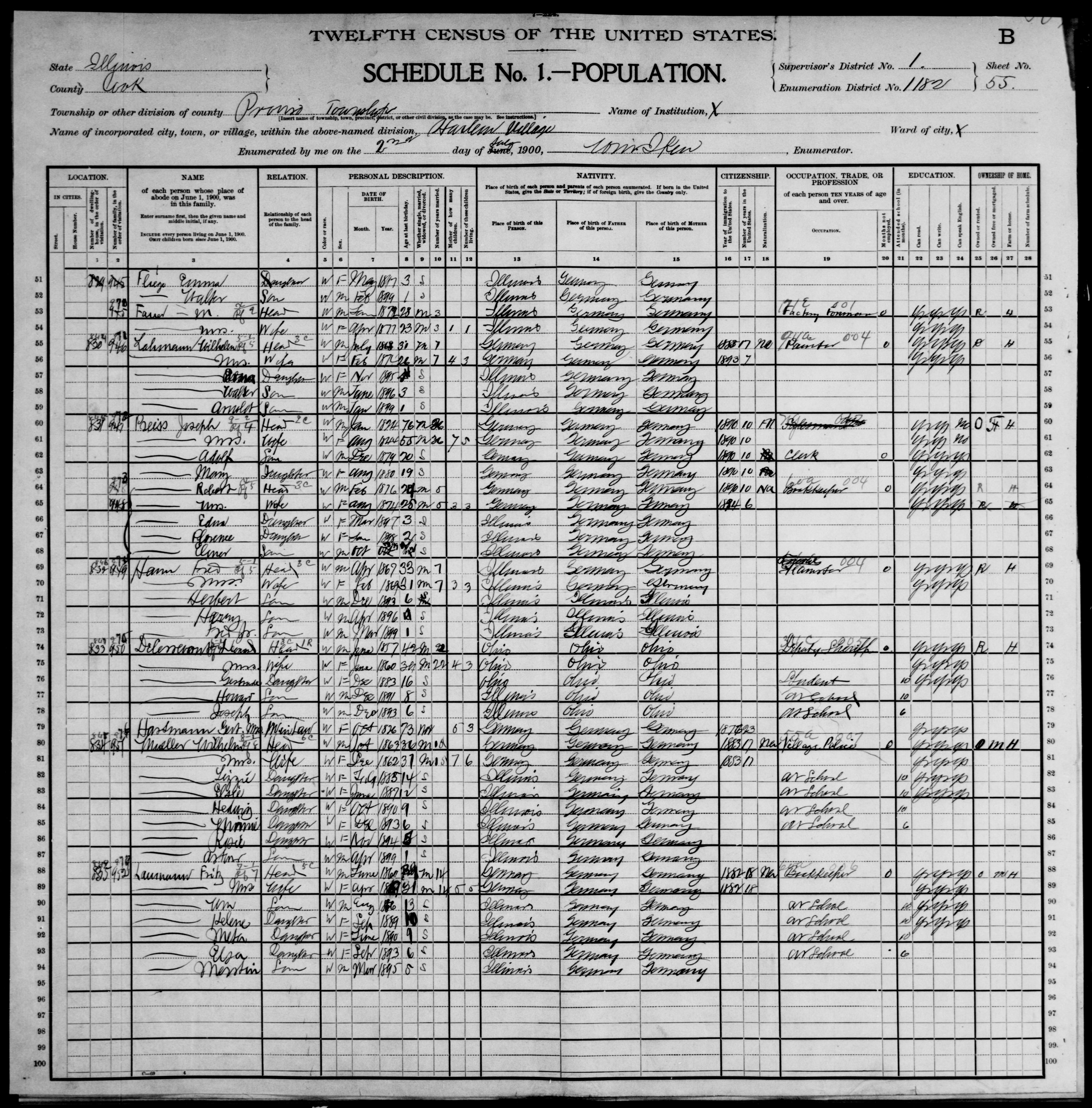 Illinois: COOK County, Enumeration District 1182, Sheet No. 55B