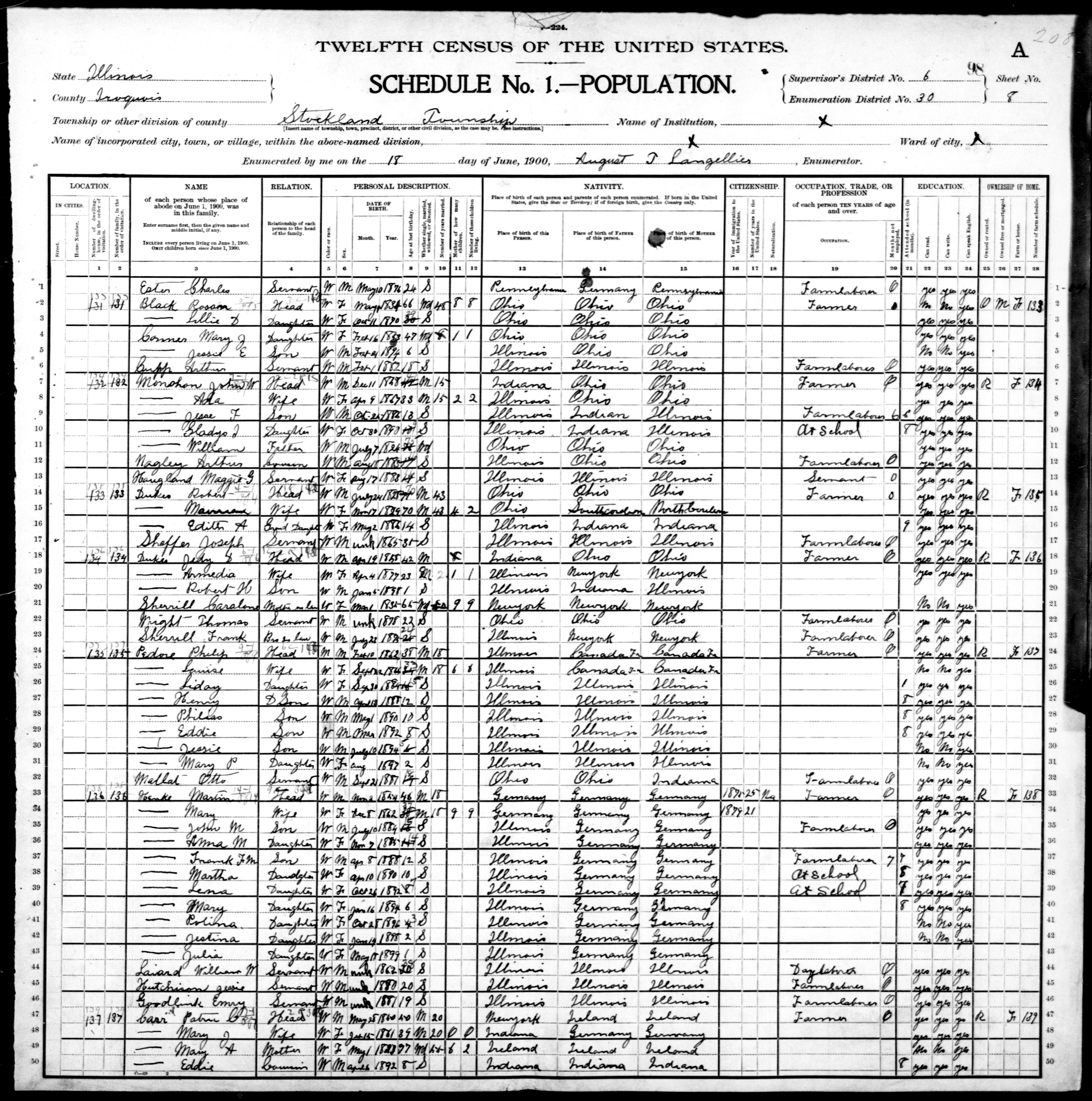 Illinois: IROQUOIS County, Enumeration District 30, Sheet No. 8A