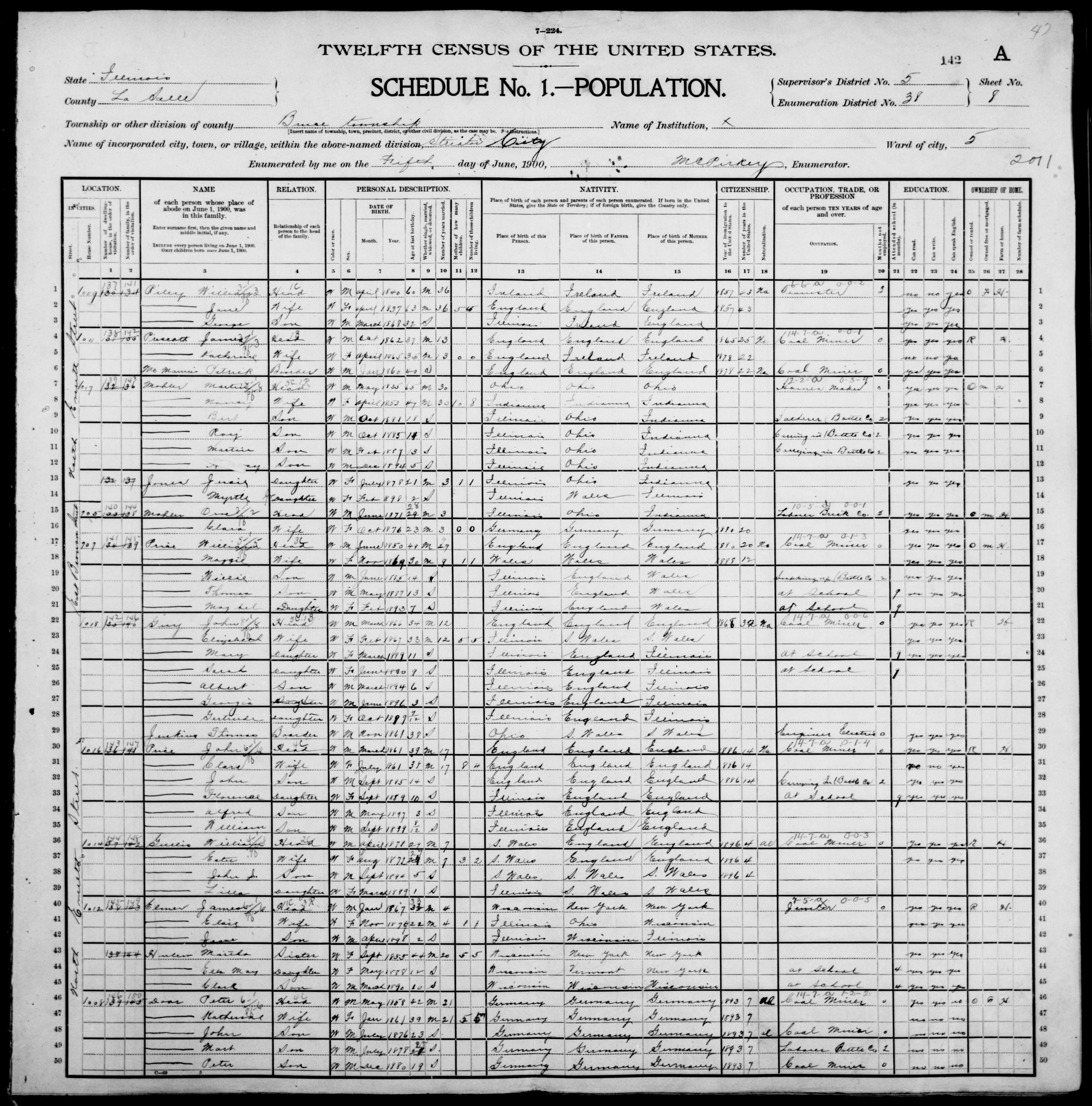Illinois: LASALLE County, Enumeration District 38, Sheet No. 8A