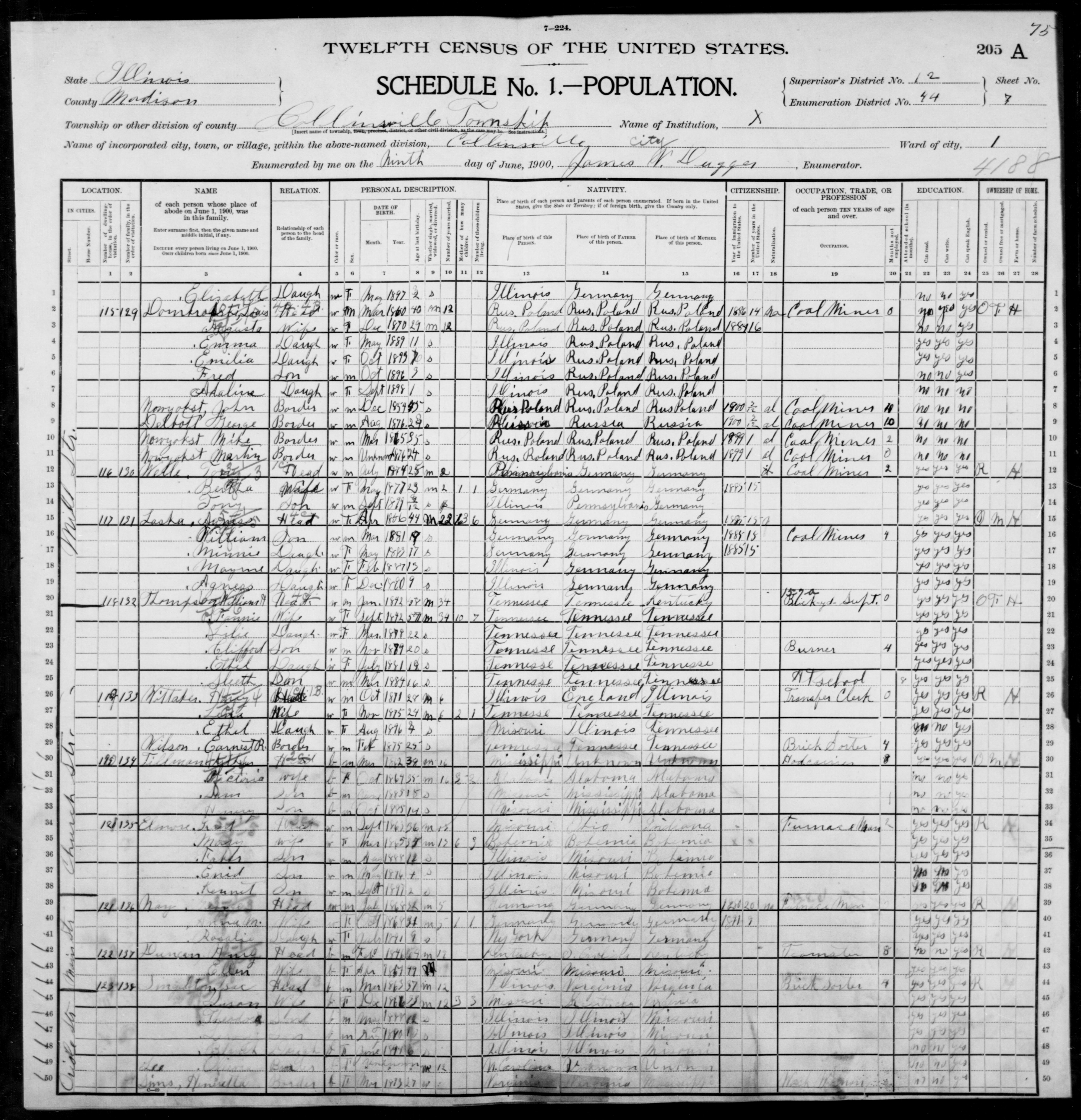 Illinois: MADISON County, Enumeration District 44, Sheet No. 7A
