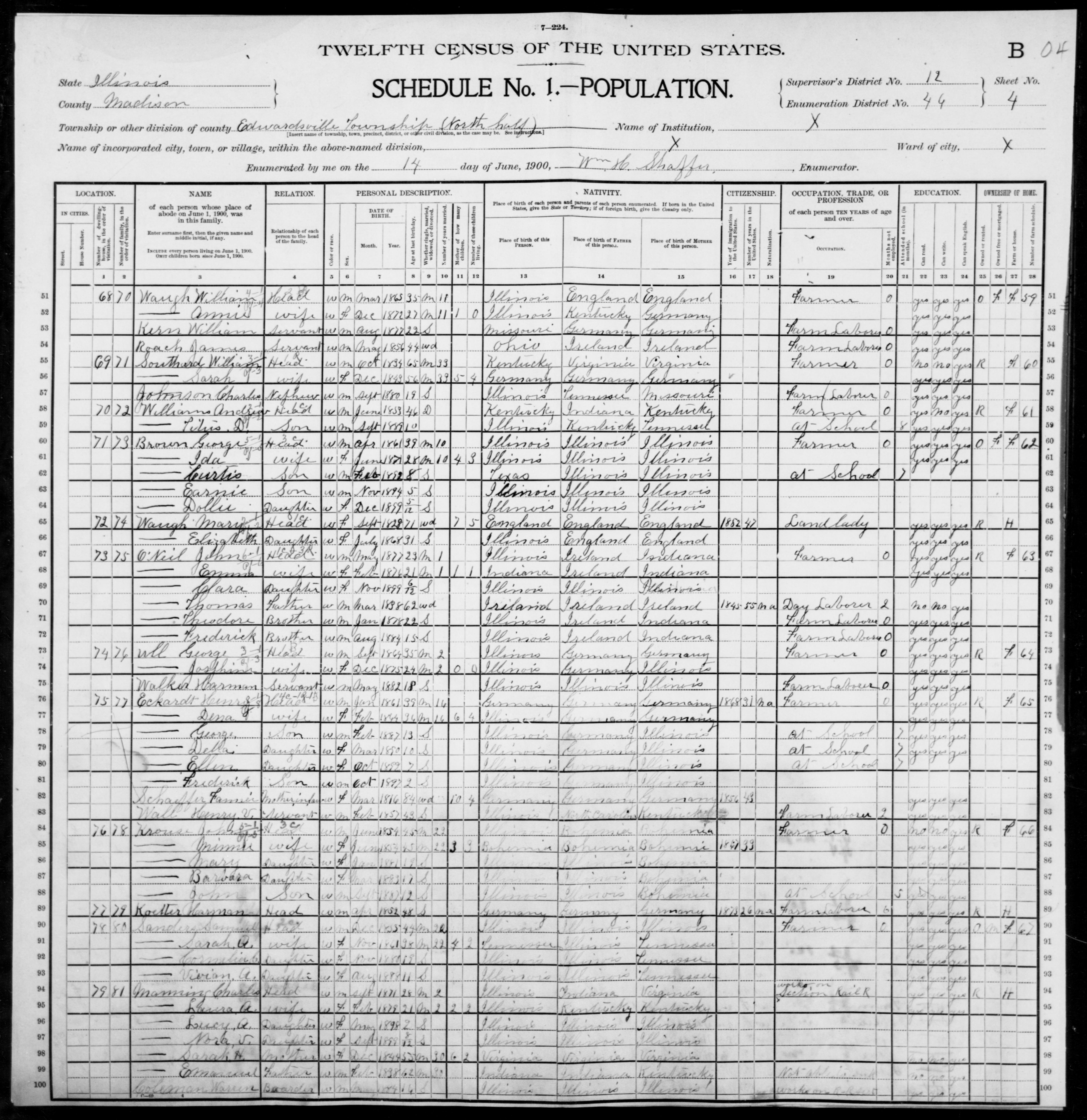 Illinois: MADISON County, Enumeration District 46, Sheet No. 4B