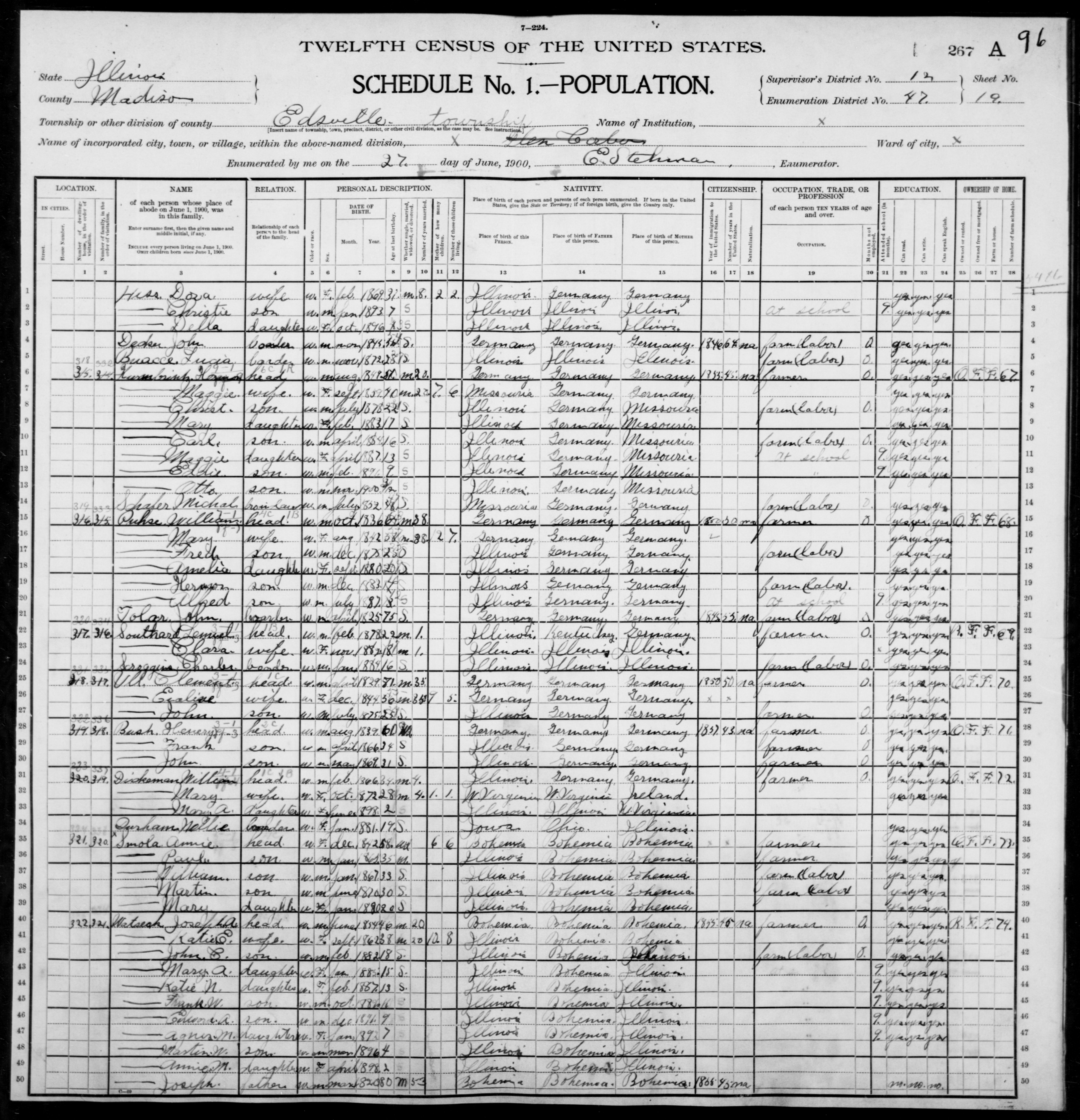 Illinois: MADISON County, Enumeration District 47, Sheet No. 19A