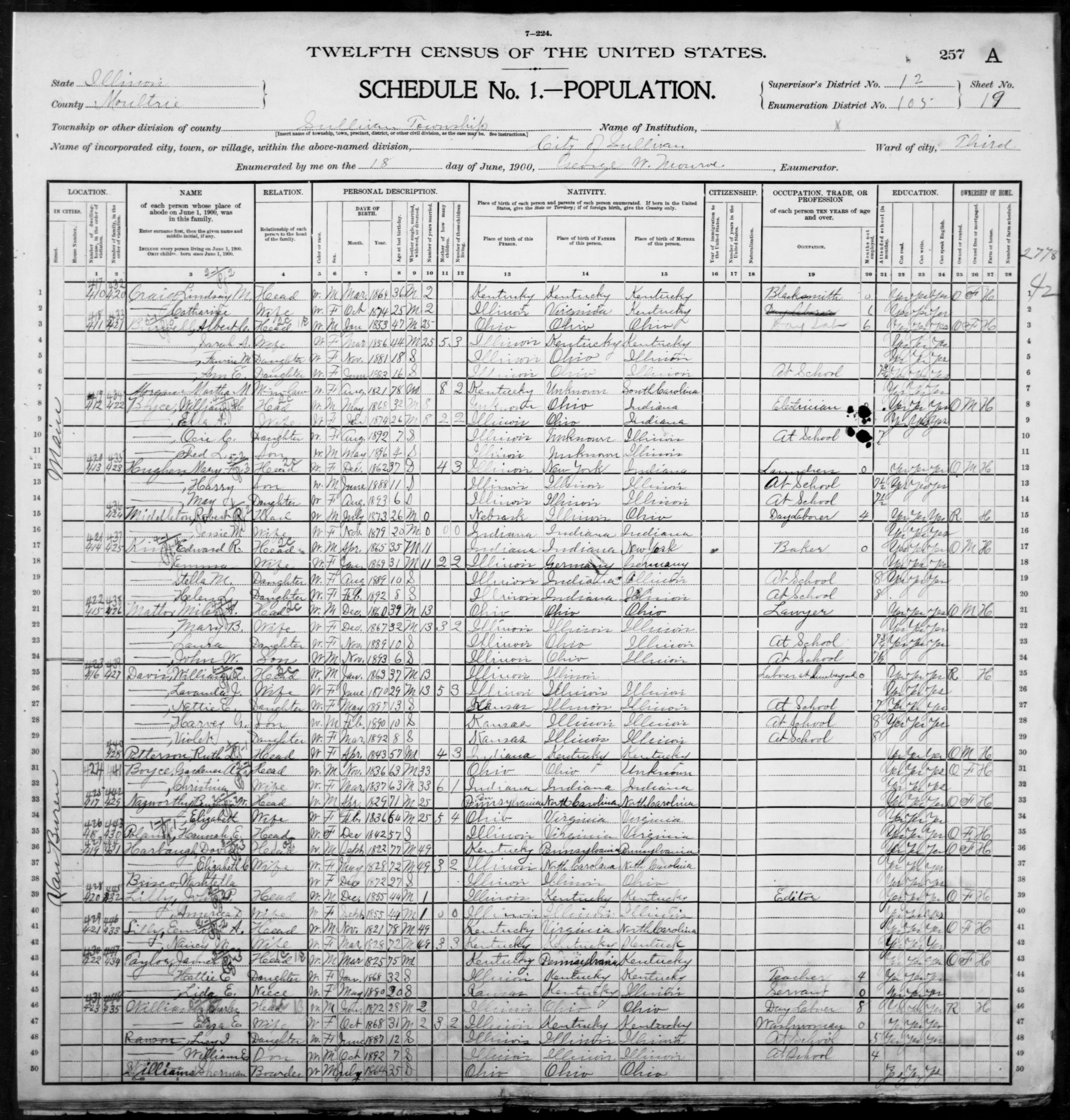 Illinois: MOULTRIE County, Enumeration District 105, Sheet No. 19A