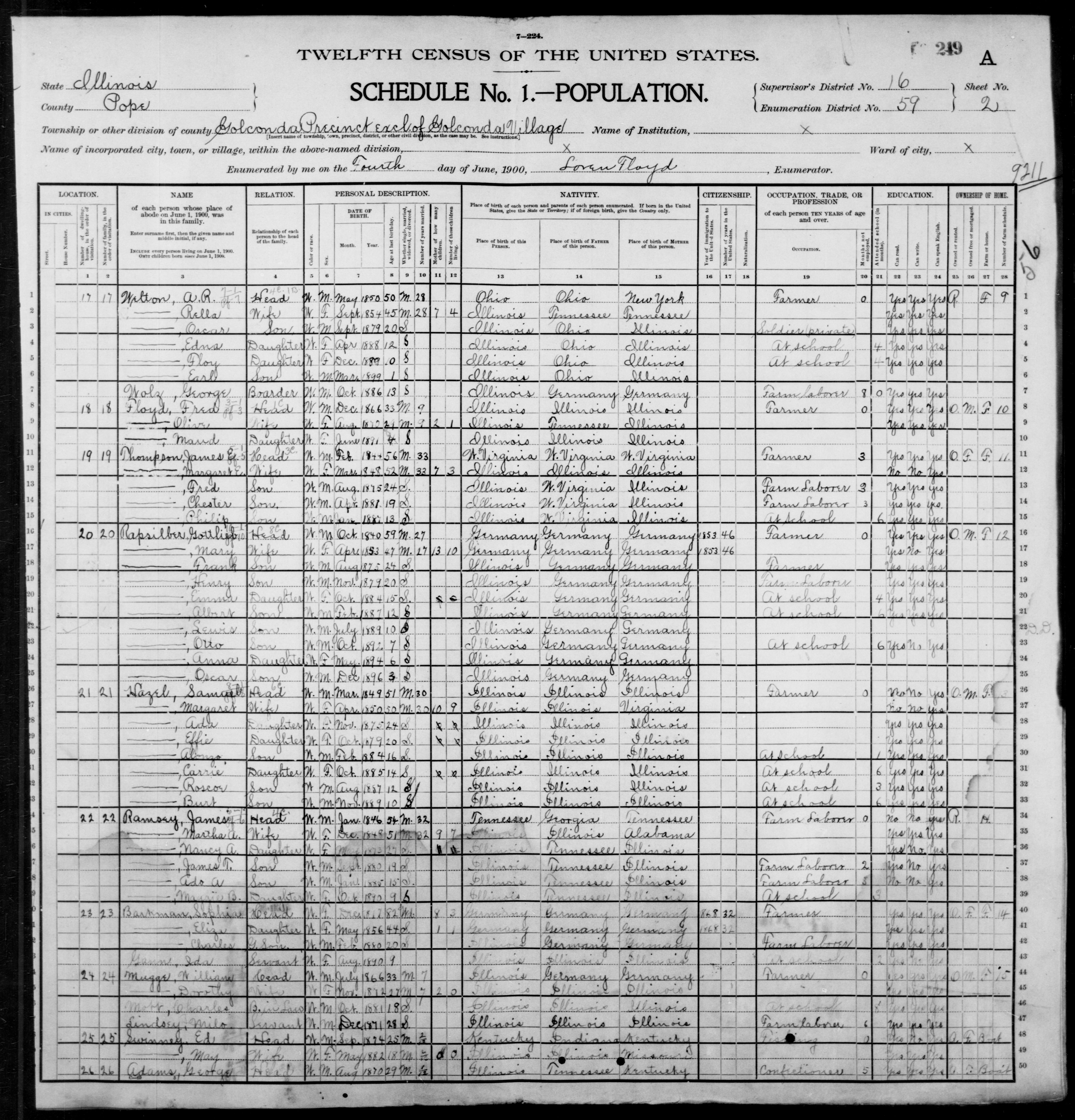 Illinois: POPE County, Enumeration District 59, Sheet No. 2A
